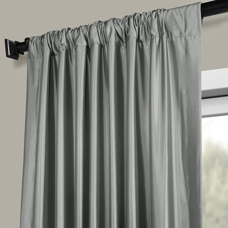 Newest Faux Silk Taffeta Solid Blackout Single Curtain Panels In Faux Silk Taffeta Solid Blackout Single Curtain Panel (View 5 of 20)