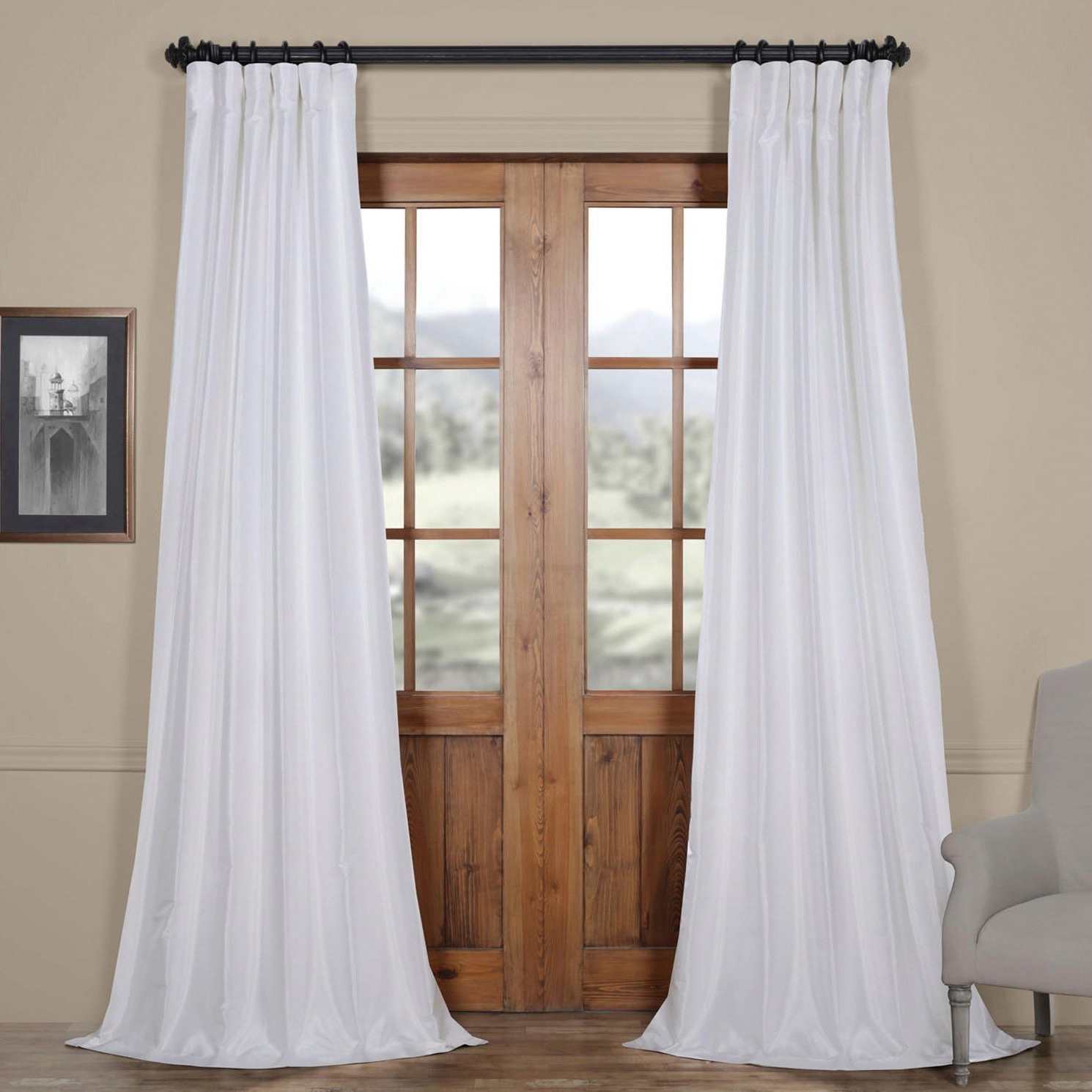 Newest Ice White Vintage Faux Textured Dupioni Silk 108L Curtain Panel Regarding Storm Grey Vintage Faux Textured Dupioni Single Silk Curtain Panels (View 10 of 20)