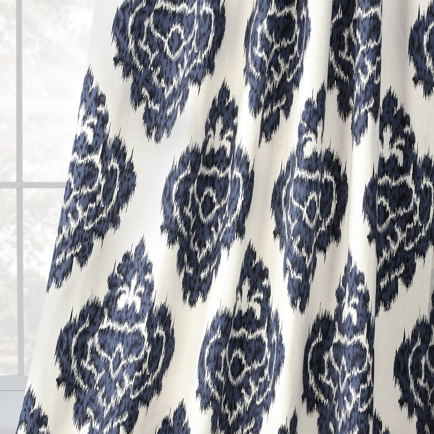 Newest Ikat Blue Printed Cotton Curtain Panels Intended For Exclusive Fabrics Ikat Blue Printed Cotton Curtain Panel (View 10 of 20)