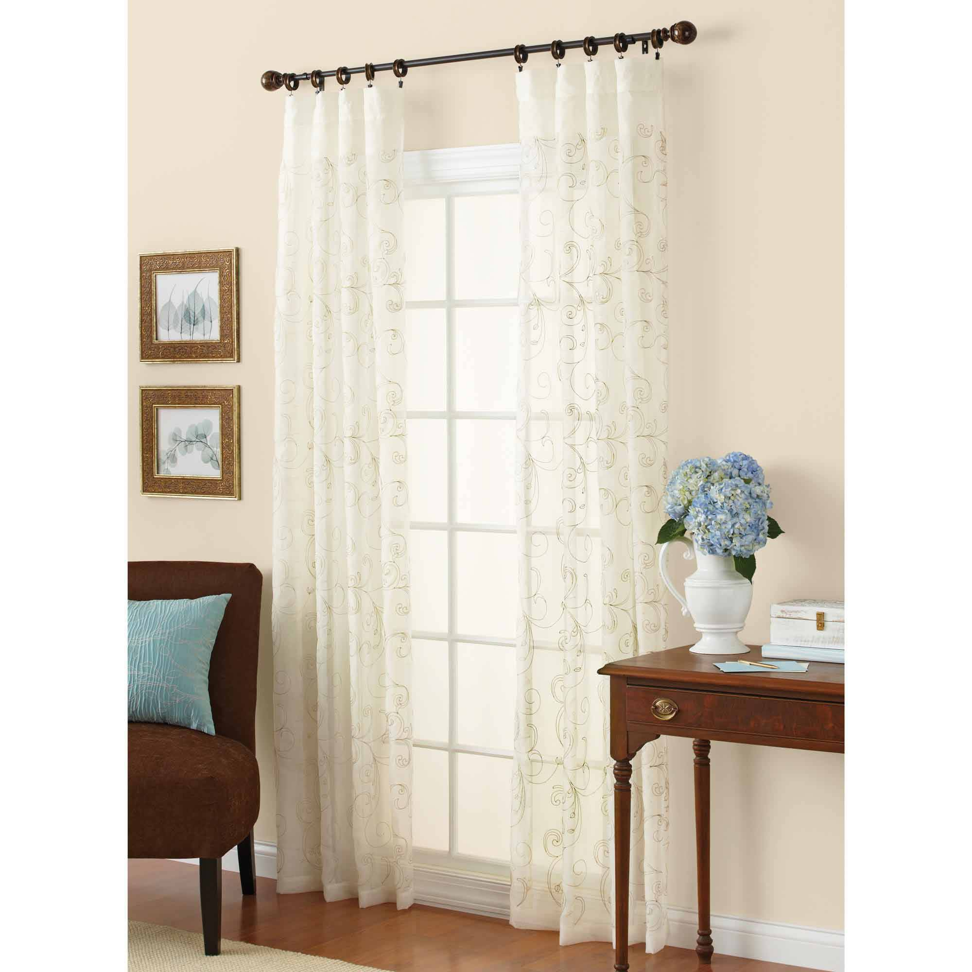 Newest Kida Embroidered Sheer Curtain Panels Intended For Better Homes & Gardens Embroidered Sheer Curtain Panel – Walmart (View 5 of 20)