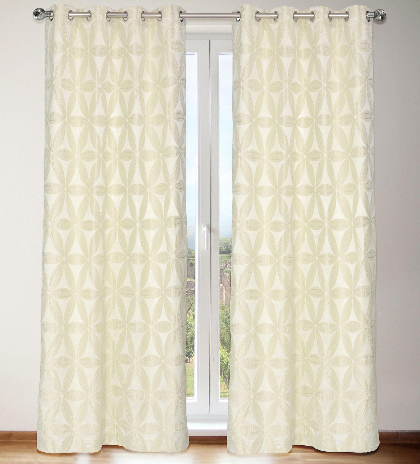 Newest Lj Home Fashions Rita Faux Silk Privacy Lined Floral Grommet With Regard To Ofloral Embroidered Faux Silk Window Curtain Panels (View 11 of 20)