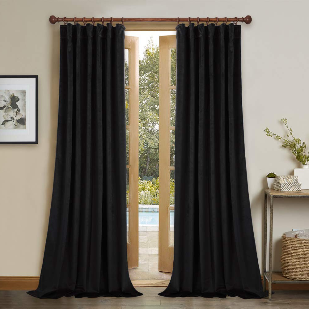 Newest Patio Door Blackout Velvet Curtains – 96 Inches Long Thermal Insulated  Black Velvet Drapes Noise Buffer Privacy Assured Curtain Panels For Night Intended For Warm Black Velvet Single Blackout Curtain Panels (View 10 of 20)