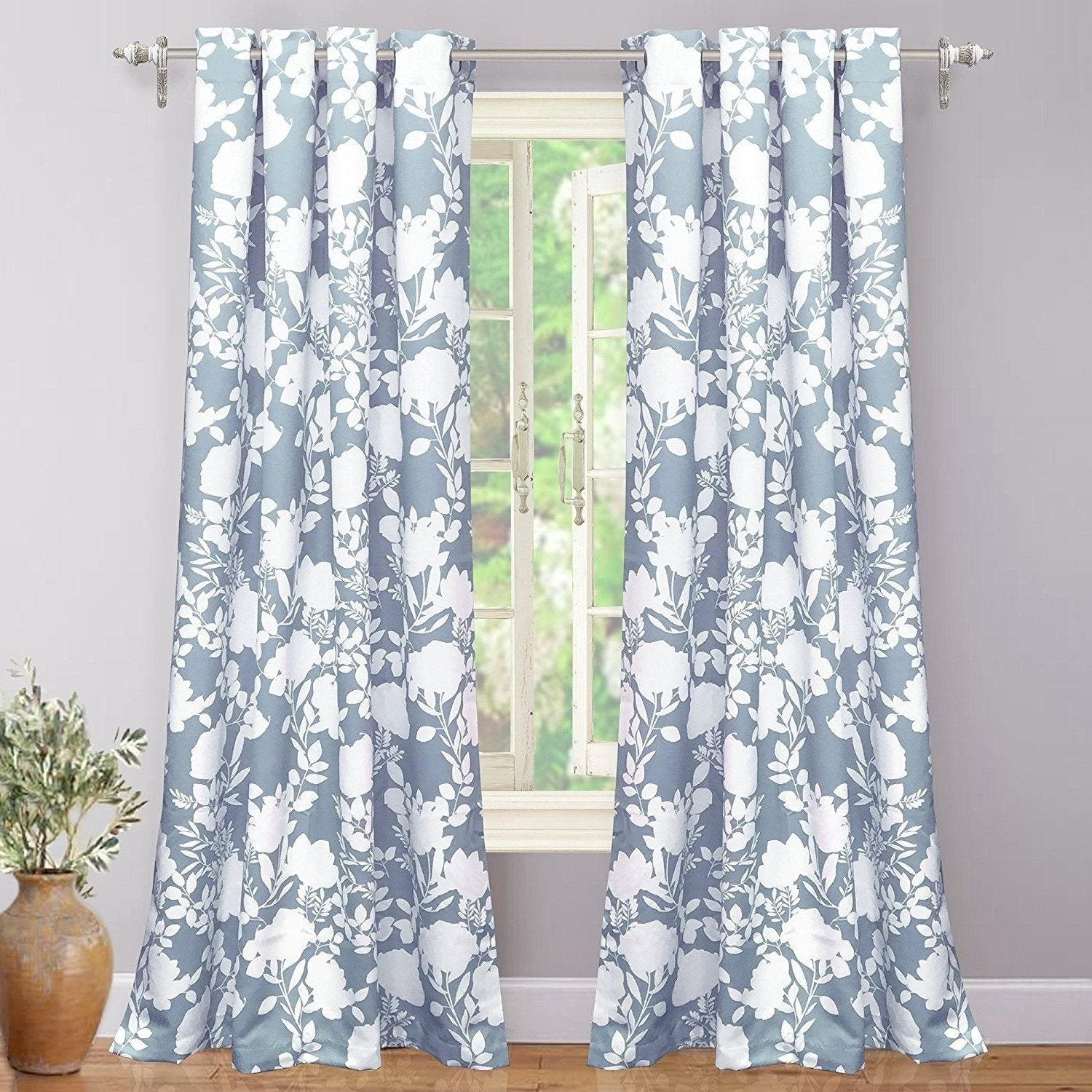 Newest Porch & Den Nolana Floral Room Darkening Grommet Window Curtain Panel Pair In Floral Pattern Room Darkening Window Curtain Panel Pairs (View 2 of 20)