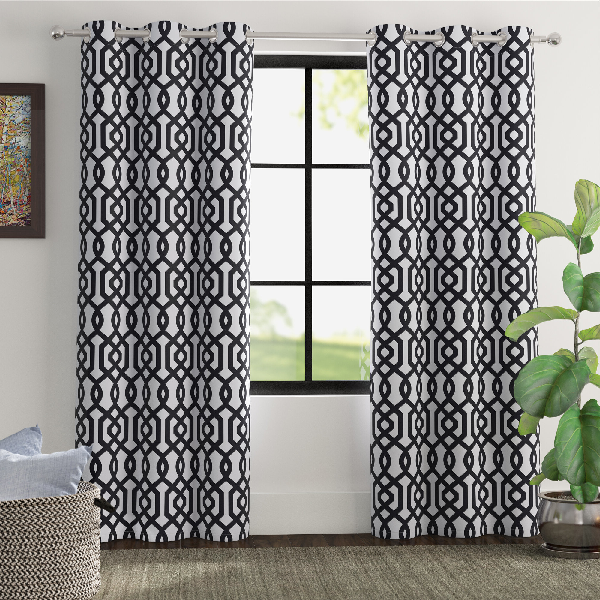 Newest Primebeau Geometric Pattern Blackout Curtain Pairs Intended For Grommet Curtain Patterns (View 14 of 20)