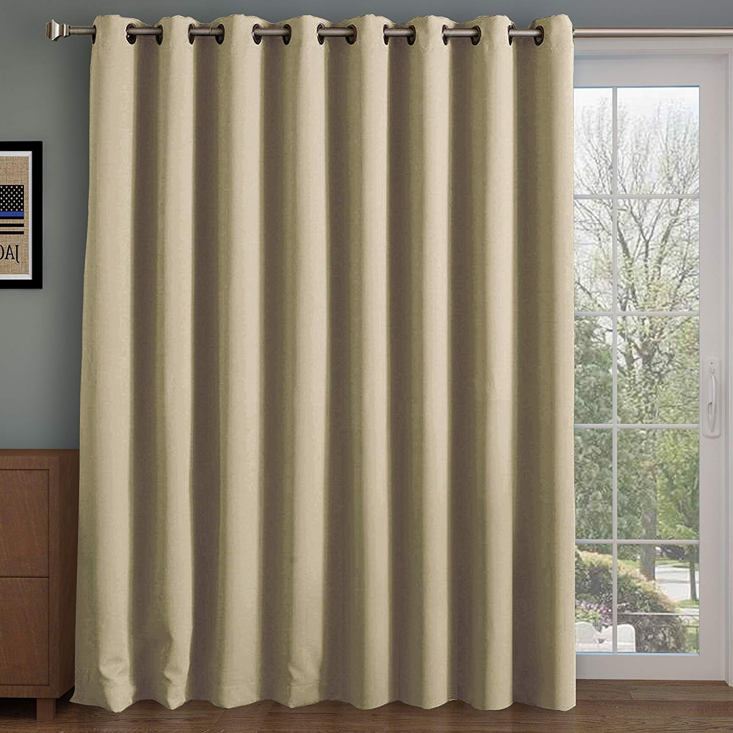 Newest Rose Home Fashion Rhf Wide Thermal Blackout Patio Door Curtain, Sliding Door Curtains,thermal Curtains,grommet Curtains,extra Wide Curtains, Curtains Pertaining To Grommet Blackout Patio Door Window Curtain Panels (View 1 of 20)