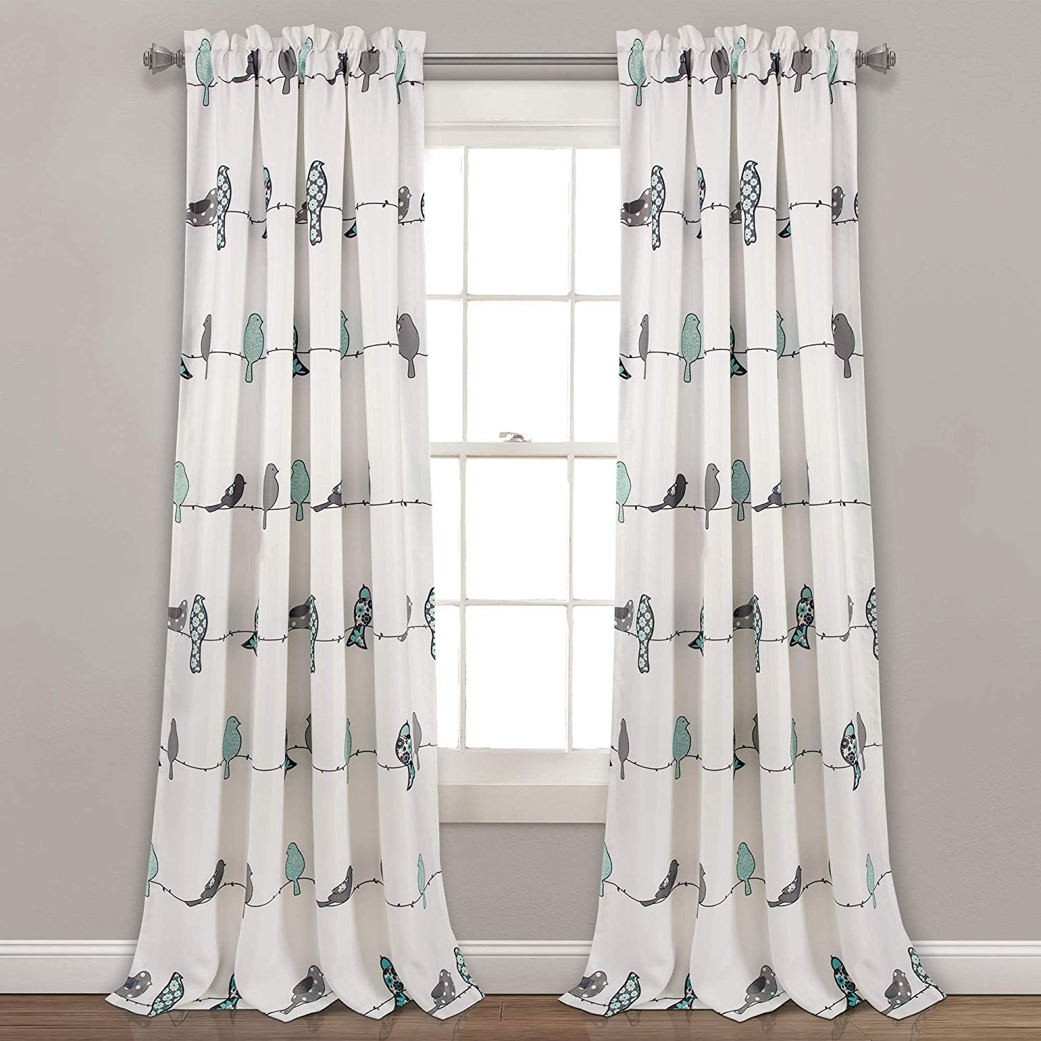 "Newest Rowley Birds Room Darkening Curtain Panel Pairs Intended For Lush Decor Rowley Birds Room Darkening Window Curtain Panel Pair, 95"" X 52"" + 2"" Header, Blue & Gray, 95"" L (View 3 of 20)"