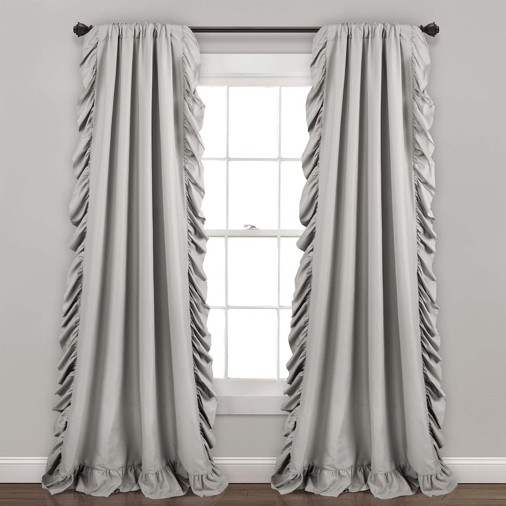 Newest Ruffle Diamond Curtain Panel Pairs For Lush Decor 2 Pack Reyna Cascading Window Curtains, Grey (View 16 of 20)