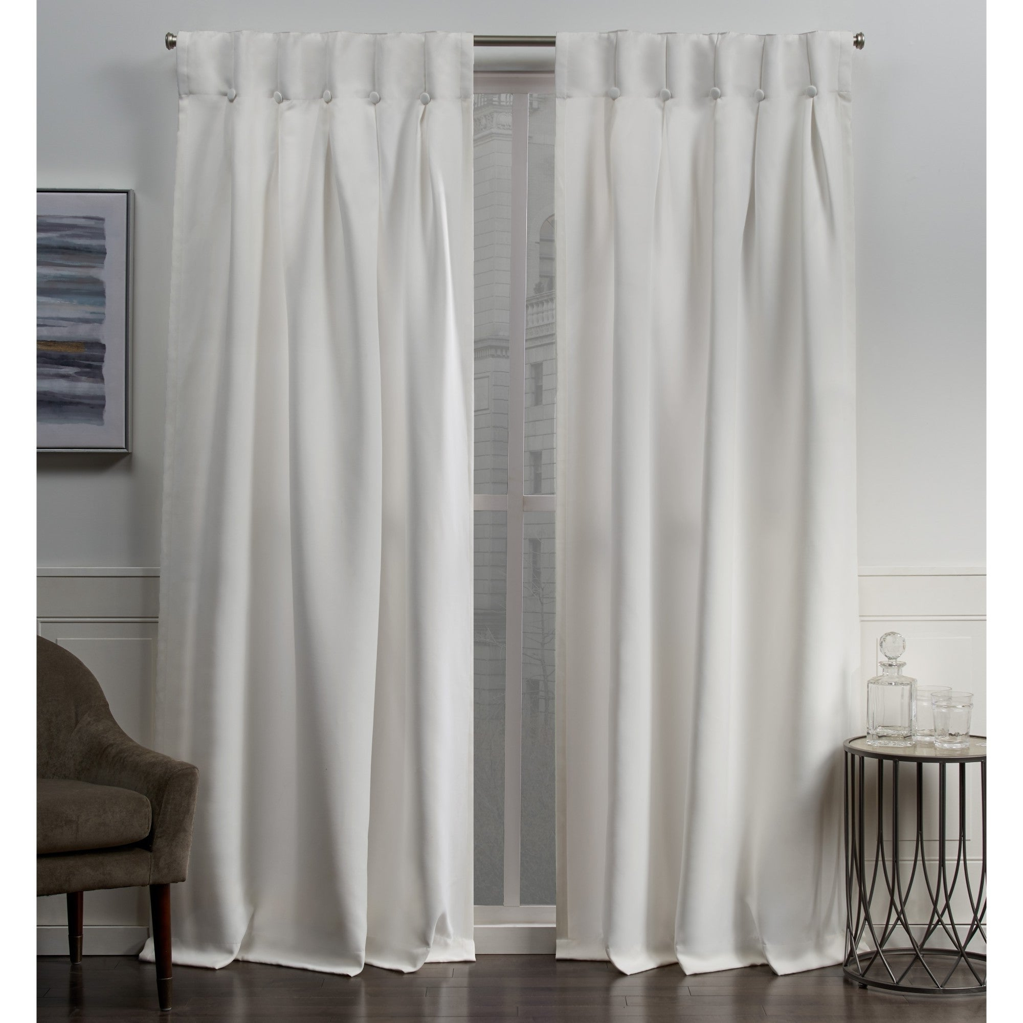 Newest Sateen Woven Blackout Curtain Panel Pairs With Pinch Pleat Top With Regard To Ati Home Sateen Woven Blackout Button Top Window Curtain Panel Pair (View 13 of 20)
