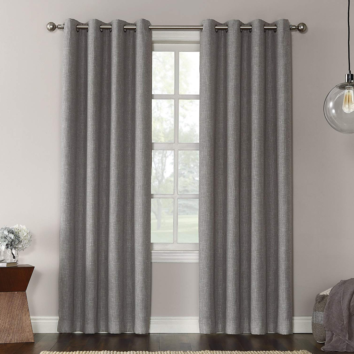 "Newest Single Curtain Panels Within Sun Zero Gilby Woven Texture Energy Efficient Single Curtain Panel, Gray, 52"" X 63"" (View 17 of 20)"