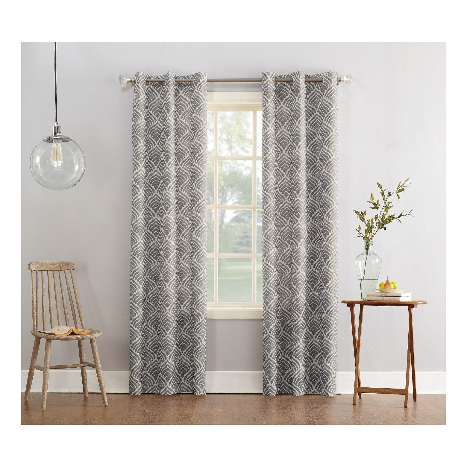 Newest Sun Zero Clarke Geometric Print Textured Thermal Insulated Pertaining To Geometric Print Textured Thermal Insulated Grommet Curtain Panels (View 8 of 20)