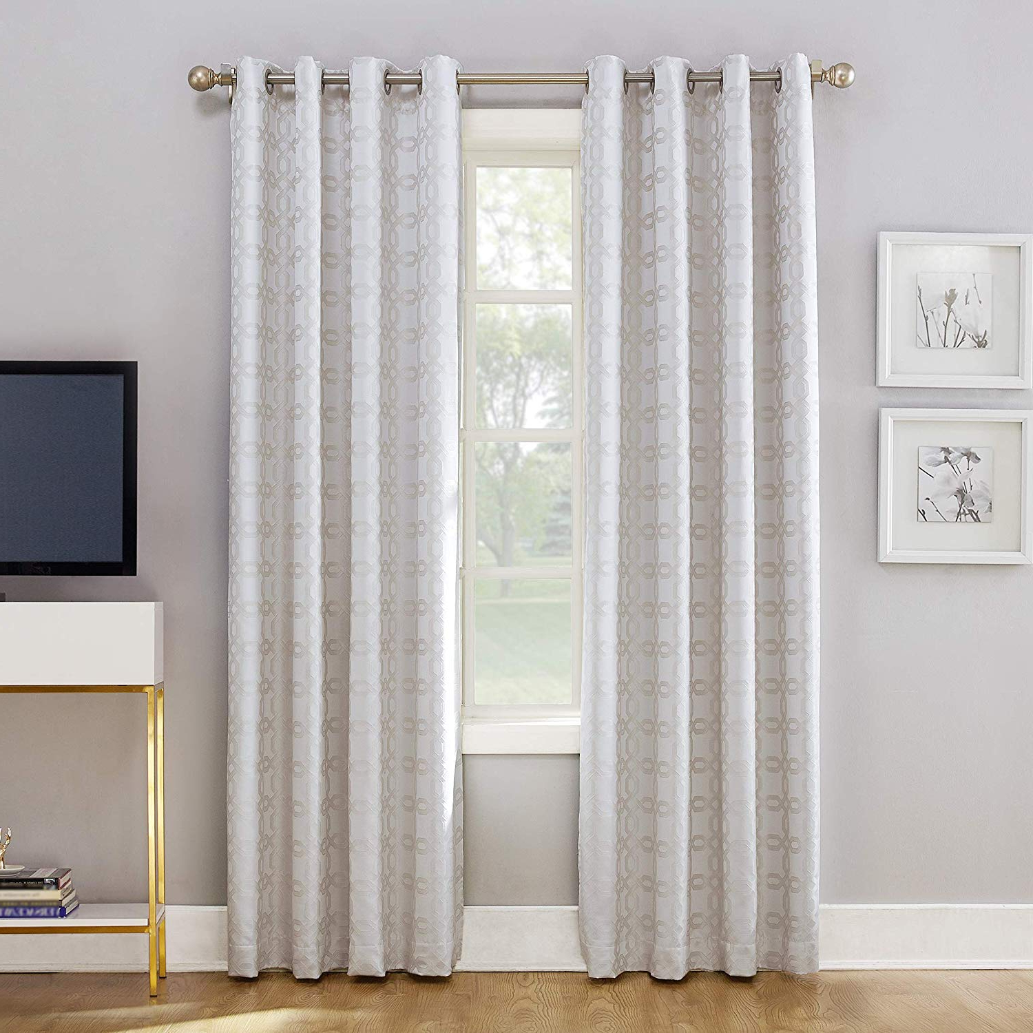 "Newest Sun Zero Rowes Woven Trellis Blackout Lined Grommet Curtain Panel, 52"" X 84"", White In Lined Grommet Curtain Panels (View 3 of 20)"