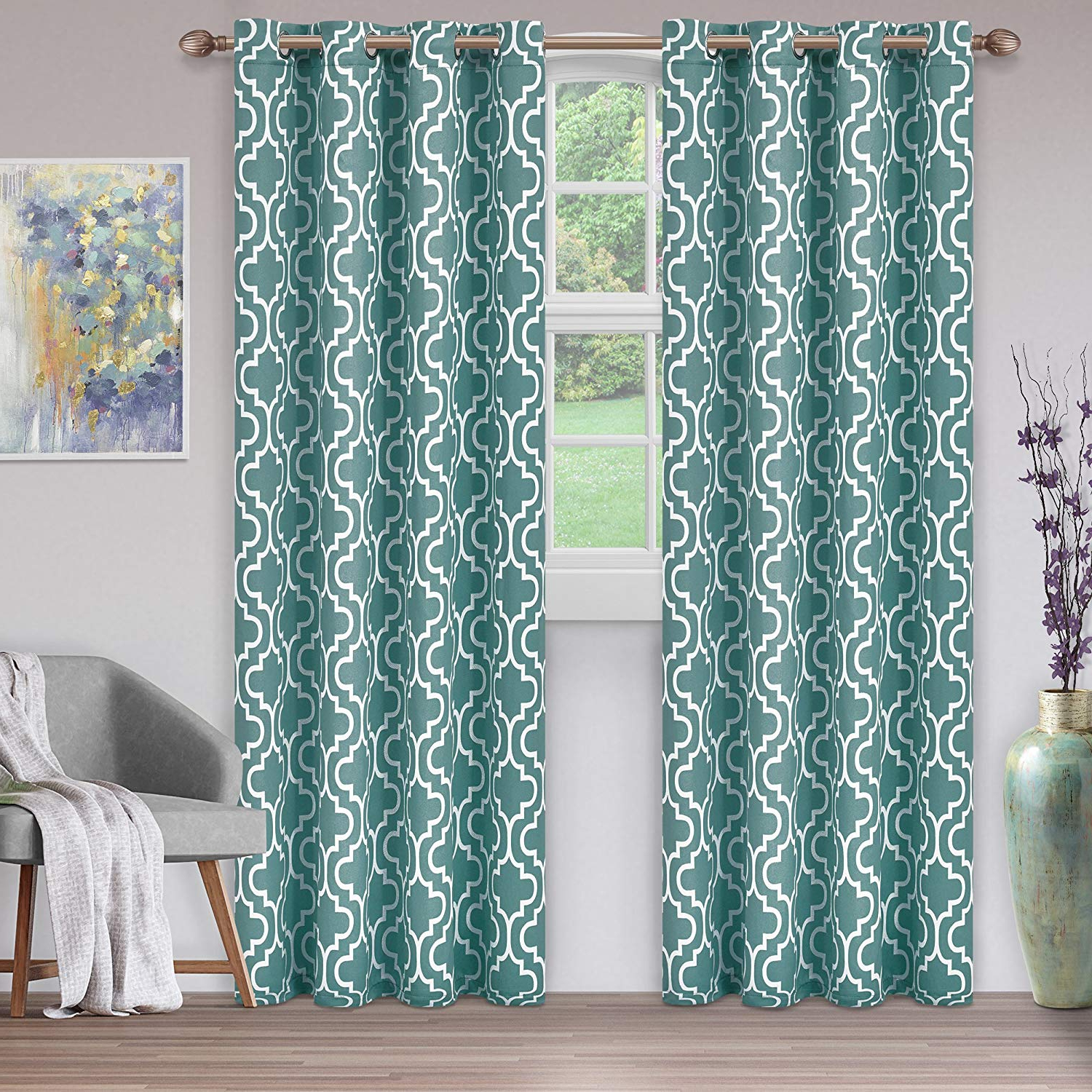 """Newest Superior Solid Insulated Thermal Blackout Grommet Curtain Panel Pairs With Superior Trellis Collection Quality Soft, Insulated, Thermal, Woven  Blackout Grommet Printed Curtain Panel Pair (Set Of 2) 52"""" X 84"""" – Teal (View 9 of 20)"""