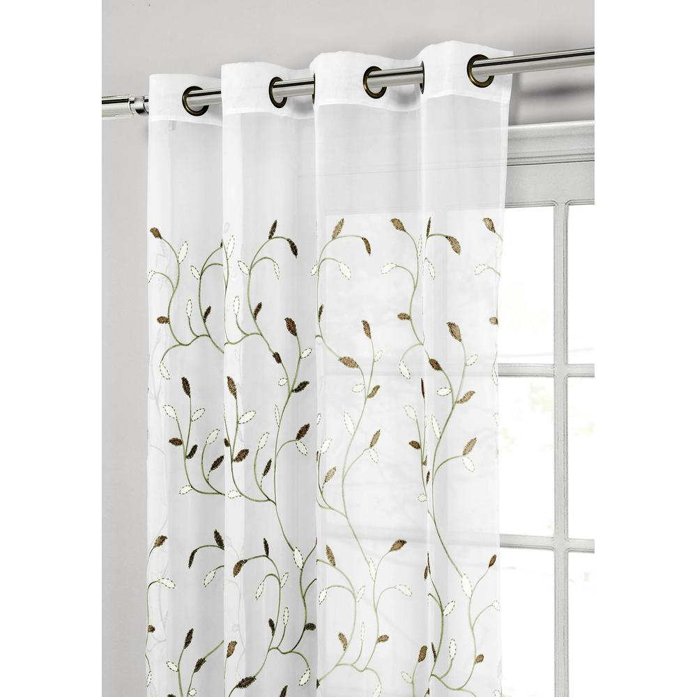 Newest Wavy Leaves Embroidered Sheer Extra Wide Grommet Curtain Panels Throughout Window Elements Sheer Wavy Leaves Embroidered Sheer Sage Grommet Extra Wide  Curtain Panel, 54 In. W X 84 In (View 2 of 20)
