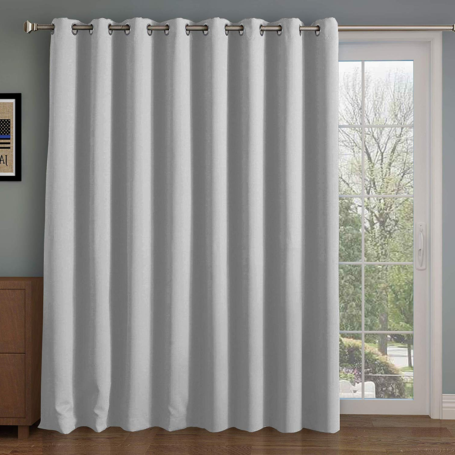 Newest Wide Blackout Patio Door Curtain Panel&sliding Door Insulated Curtains,thermal&extra Wide Curtains,for Curtain Rod Silver,silver Grommet Top Blackout Within Patio Grommet Top Single Curtain Panels (View 10 of 20)