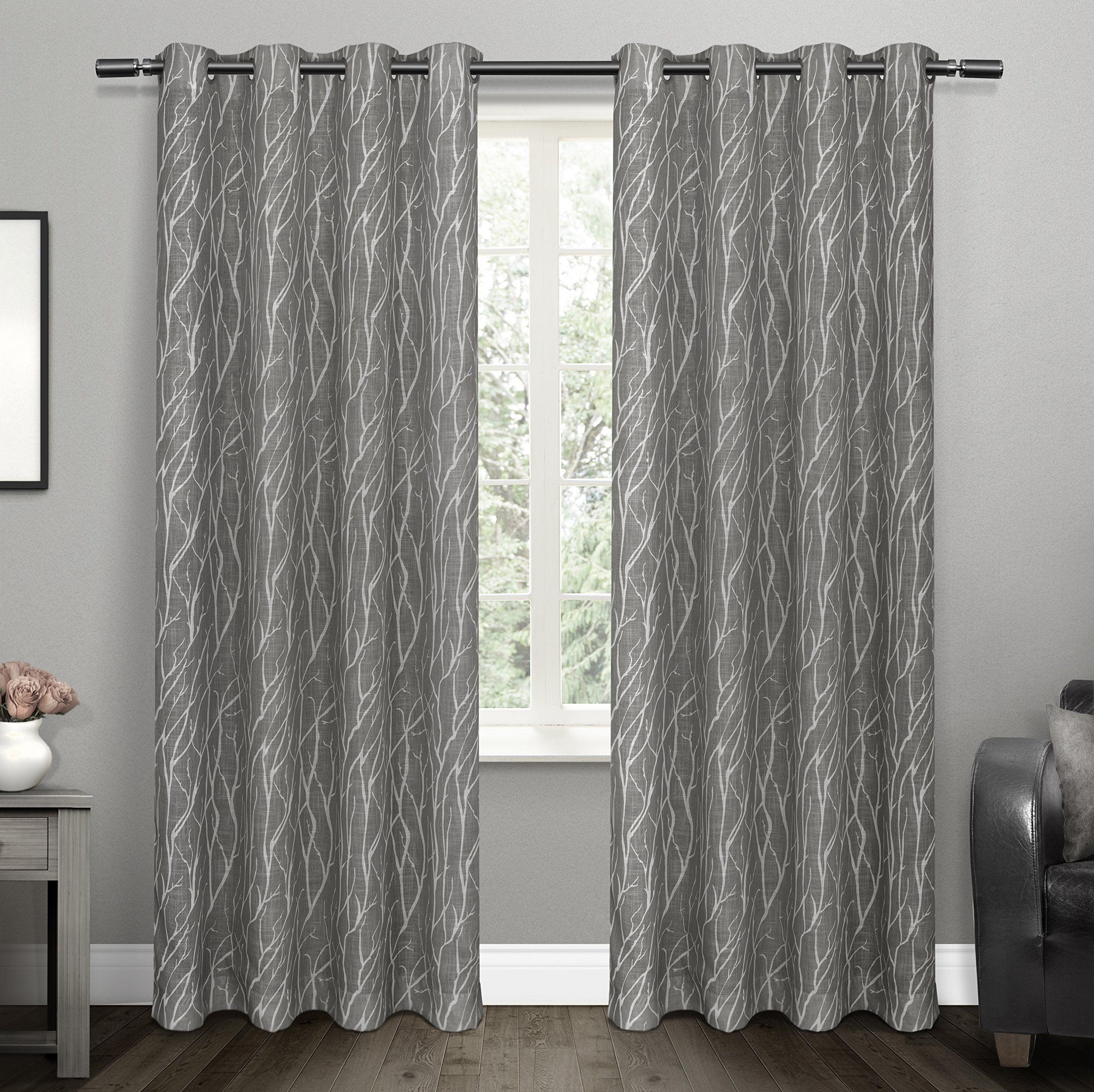 Oakdale Textured Linen Sheer Grommet Top Curtain Panel Pairs Inside Widely Used Details About Exclusive Home Curtains Oakdale Sheer Grommet Top Window  Curtain Panel Pair, (View 11 of 20)