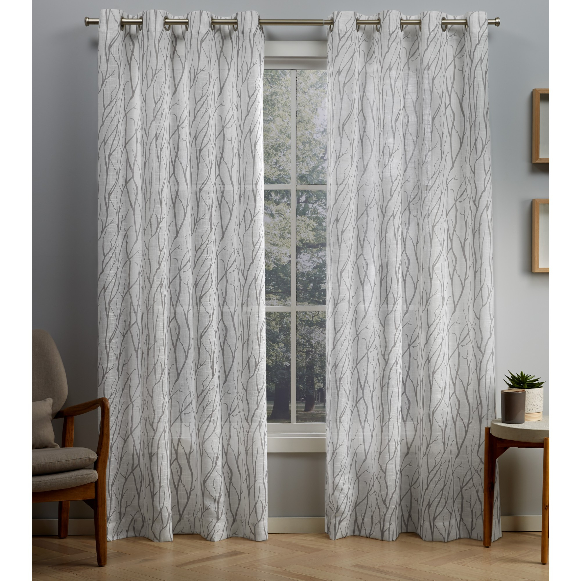 Oakdale Textured Linen Sheer Grommet Top Curtain Panel Pairs Intended For Well Known Exclusive Home Curtains 2 Pack Oakdale Motif Textured Linen Grommet Top  Curtain Panels (View 12 of 20)