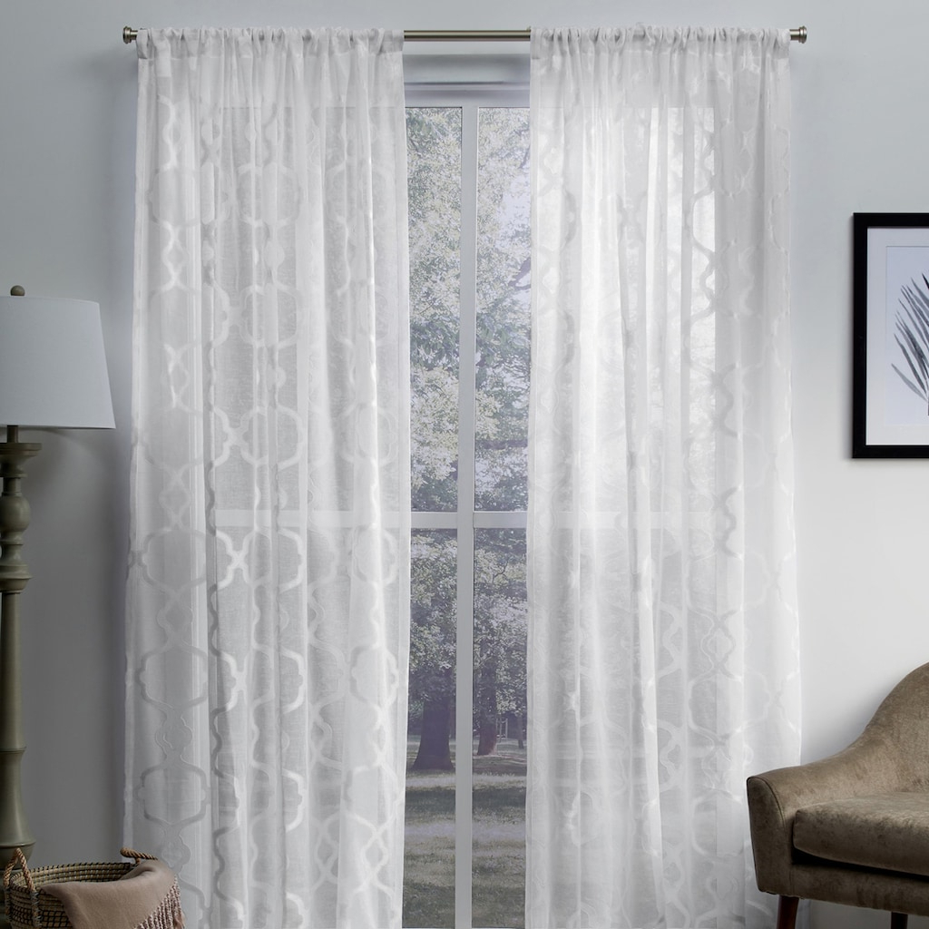 Oakdale Textured Linen Sheer Grommet Top Curtain Panel Pairs Pertaining To Recent Exclusive Home 2 Pack Muse Geometric Jacquard Linen Sheer (View 14 of 20)