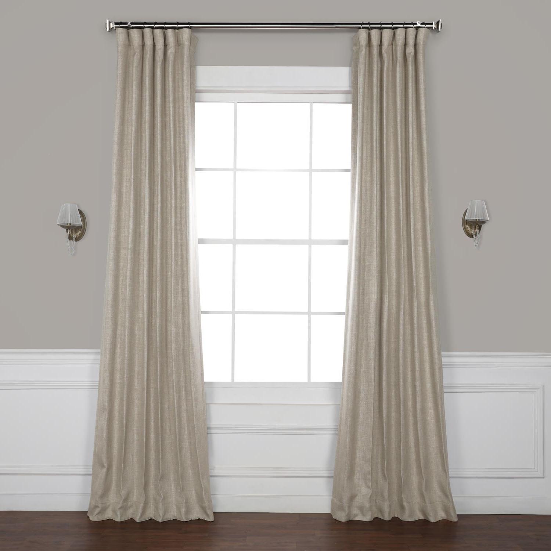 Oatmeal Faux Linen Blackout Curtain In Latest Faux Linen Extra Wide Blackout Curtains (View 18 of 21)