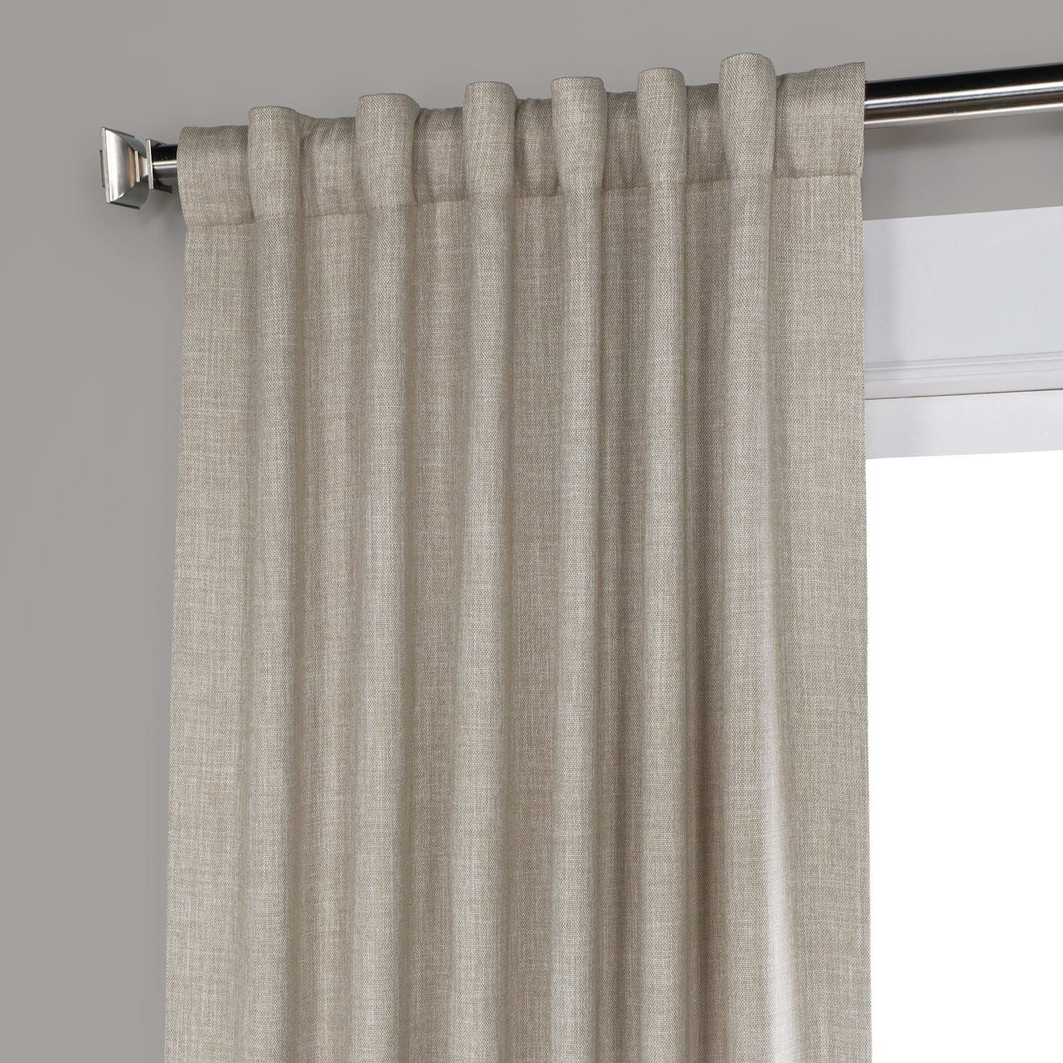 Oatmeal Faux Linen Blackout Room Darkening Curtain Pertaining To Most Popular Faux Linen Blackout Curtains (View 13 of 20)