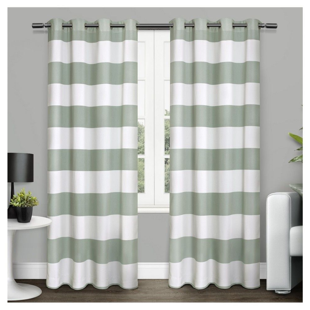 Ocean Striped Window Curtain Panel Pairs With Grommet Top In Popular Surfside Cotton Cabana Stripe Window Curtain Panel Pair Sea (View 11 of 20)