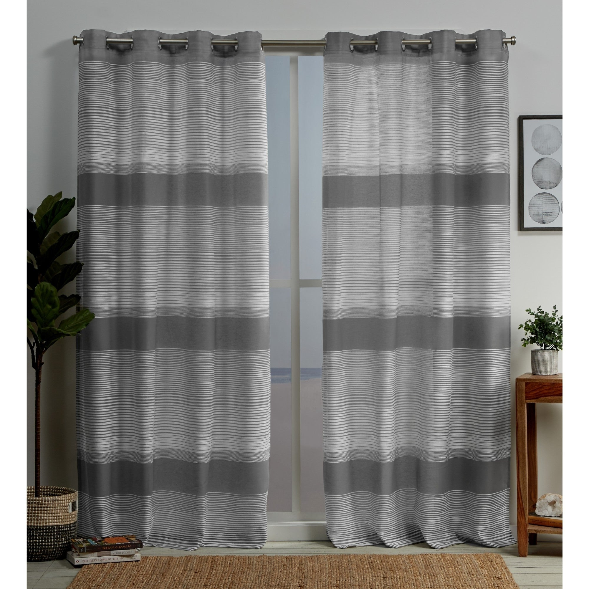 Ocean Striped Window Curtain Panel Pairs With Grommet Top Intended For Favorite Copper Grove Panagyurishte Striped Grommet Top Curtain Panel Pair (View 6 of 20)