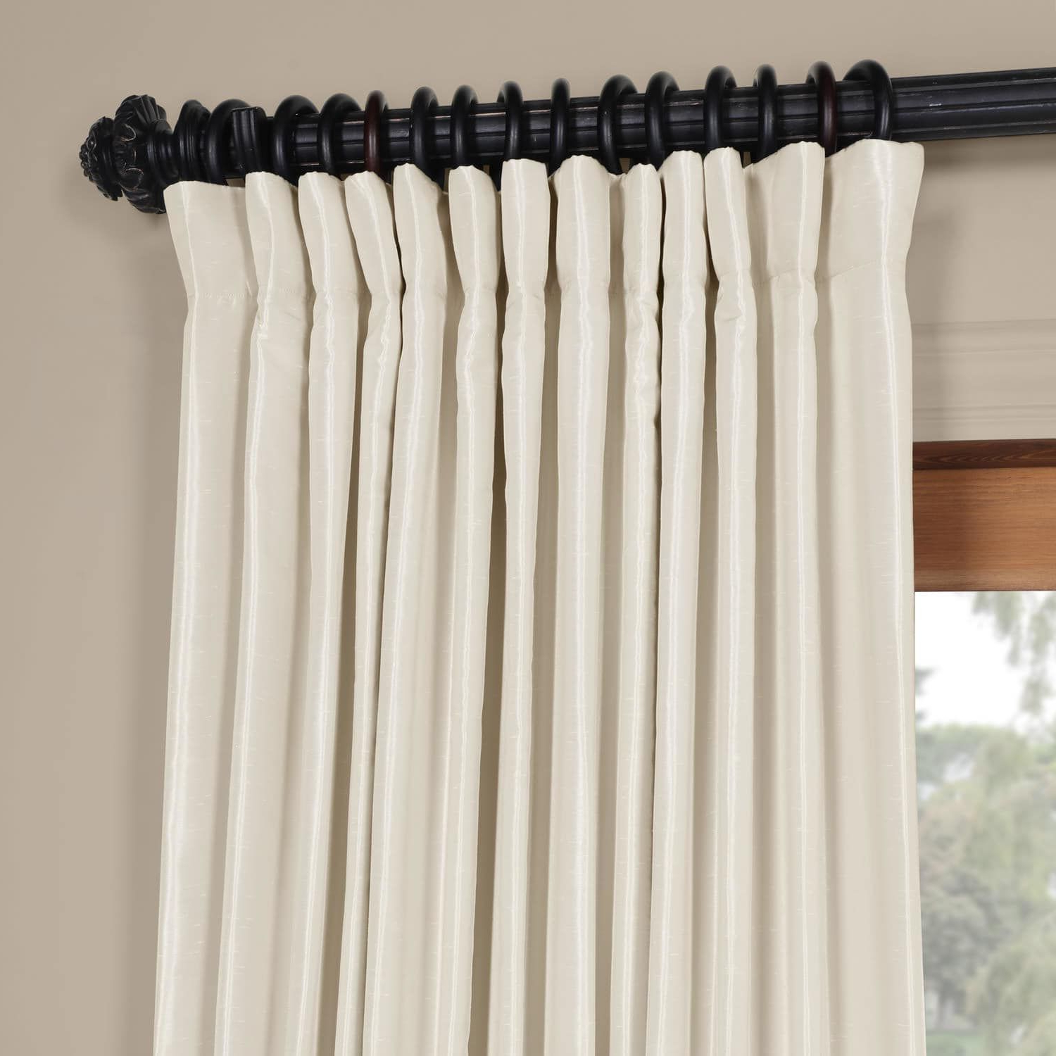 Off White Vintage Faux Textured Silk Curtains Intended For Fashionable Off White Blackout Extra Wide Vintage Textured Faux Dupioni (View 10 of 20)