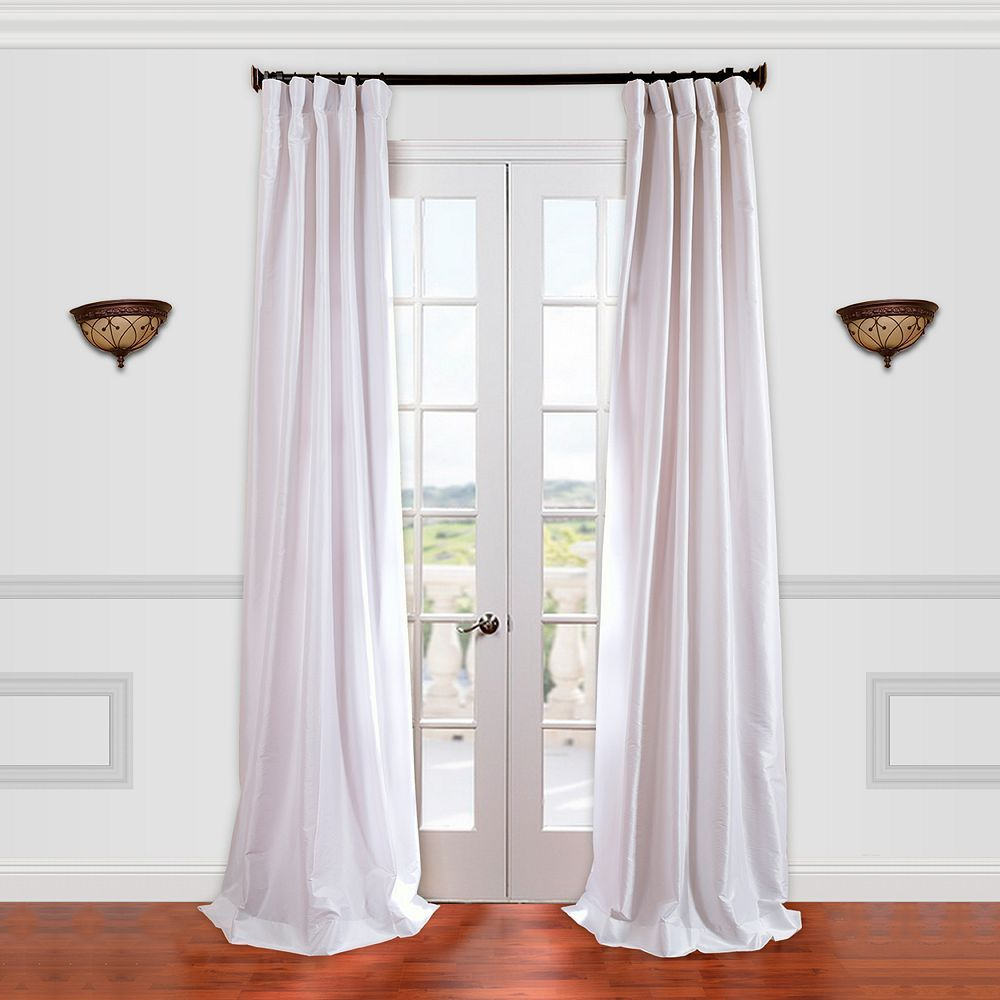 Off White Vintage Faux Textured Silk Curtains Pertaining To Most Recently Released Eff 1 Panel Solid Faux Silk Taffeta Window Curtain, White (View 14 of 20)