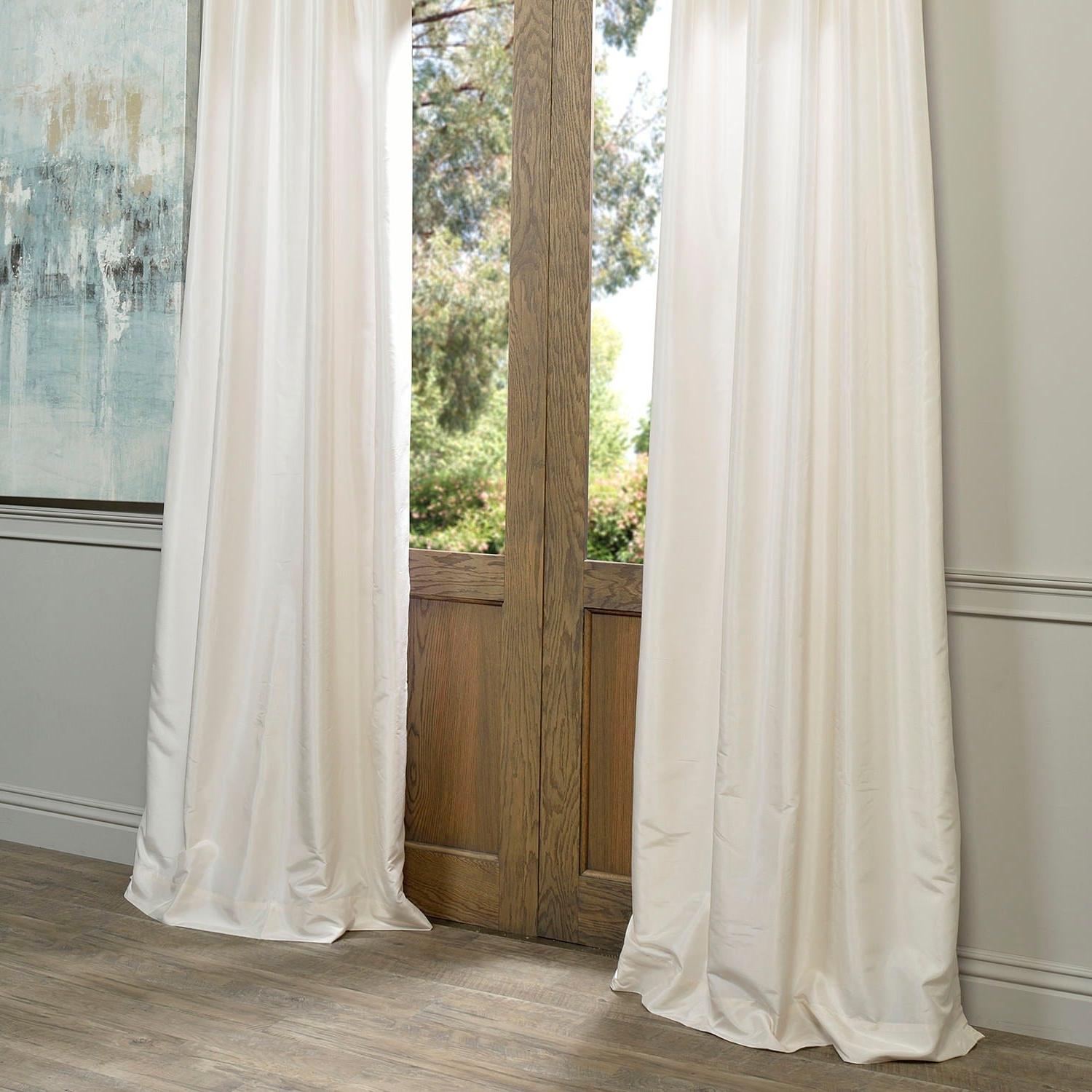 """Off White Vintage Faux Textured Silk Curtains Regarding Most Recent Exclusive Fabrics Off White Vintage Faux Textured Dupioni Silk Curtain Panel 96""""l (as Is Item) (View 11 of 20)"""