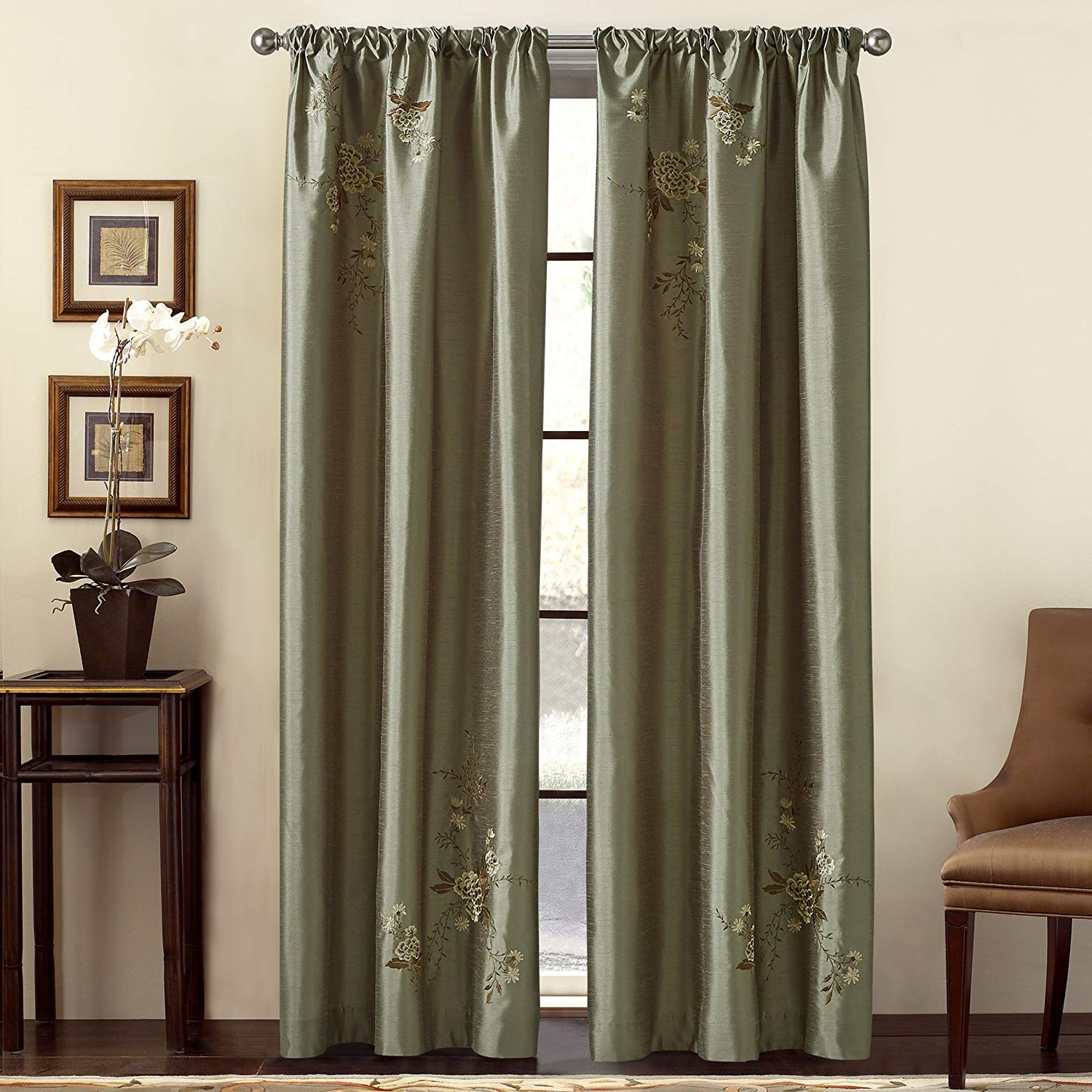 Ofloral Embroidered Faux Silk Window Curtain Panels For Preferred Chf & You Alesandra Floral Embroidered Faux Silk Window Curtain Panel, Green, 44 Inch X 84 Inch (View 6 of 20)
