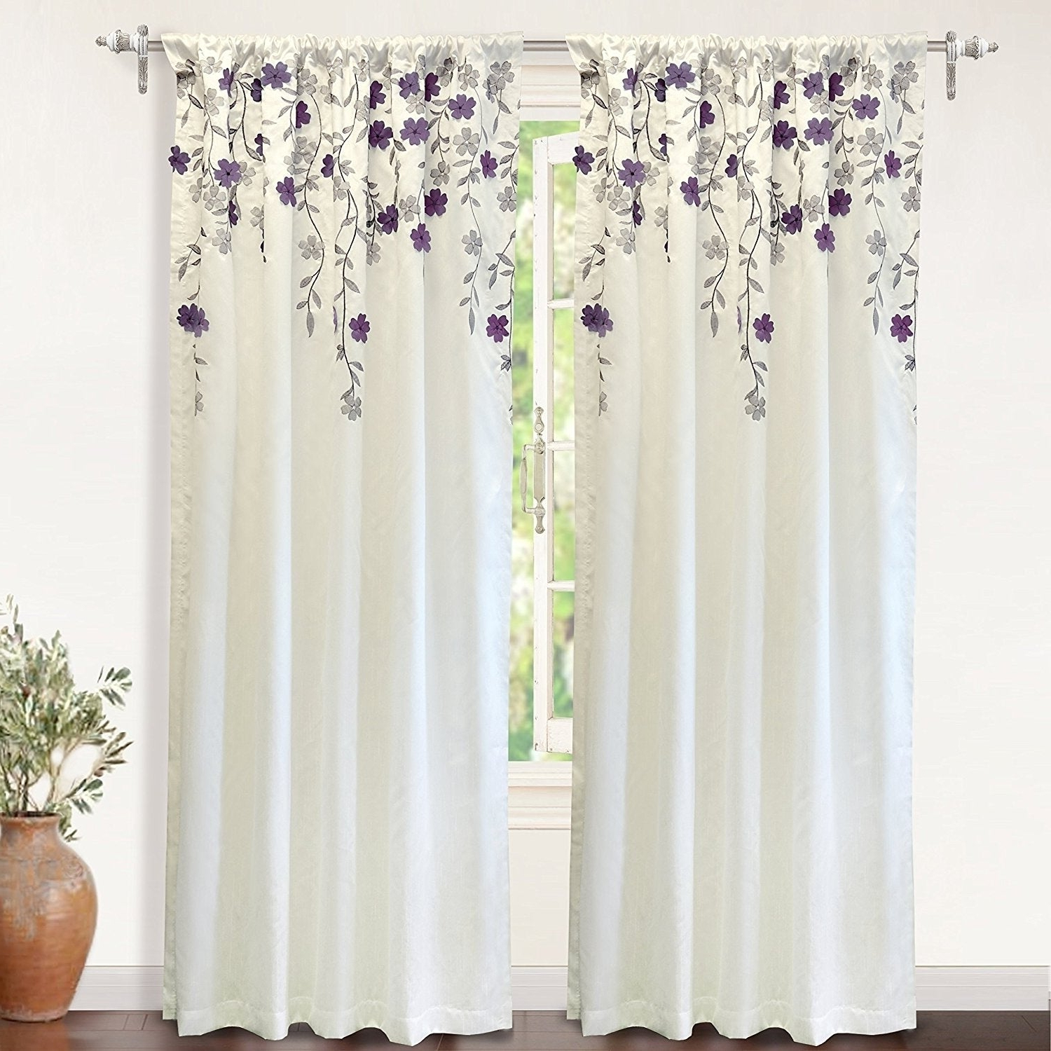Ofloral Embroidered Faux Silk Window Curtain Panels Inside Newest Driftaway Isabella Faux Silk Lined Thermal Embroidered Crafted Flower Window Curtain Panel (View 15 of 20)