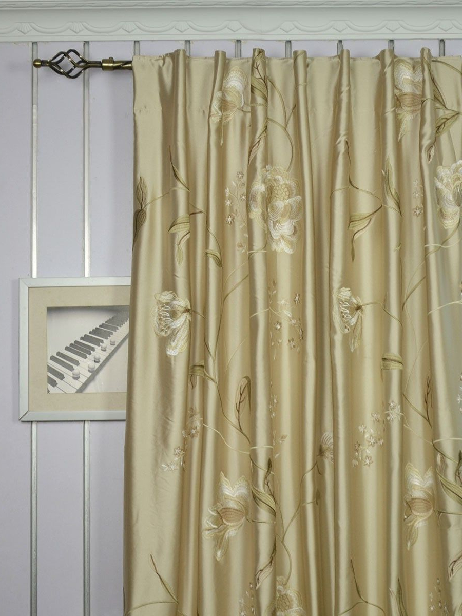 Ofloral Embroidered Faux Silk Window Curtain Panels Regarding Most Popular 120 Inch Extra Wide Morgan Deep Champagne Embroidered Floral (View 9 of 20)