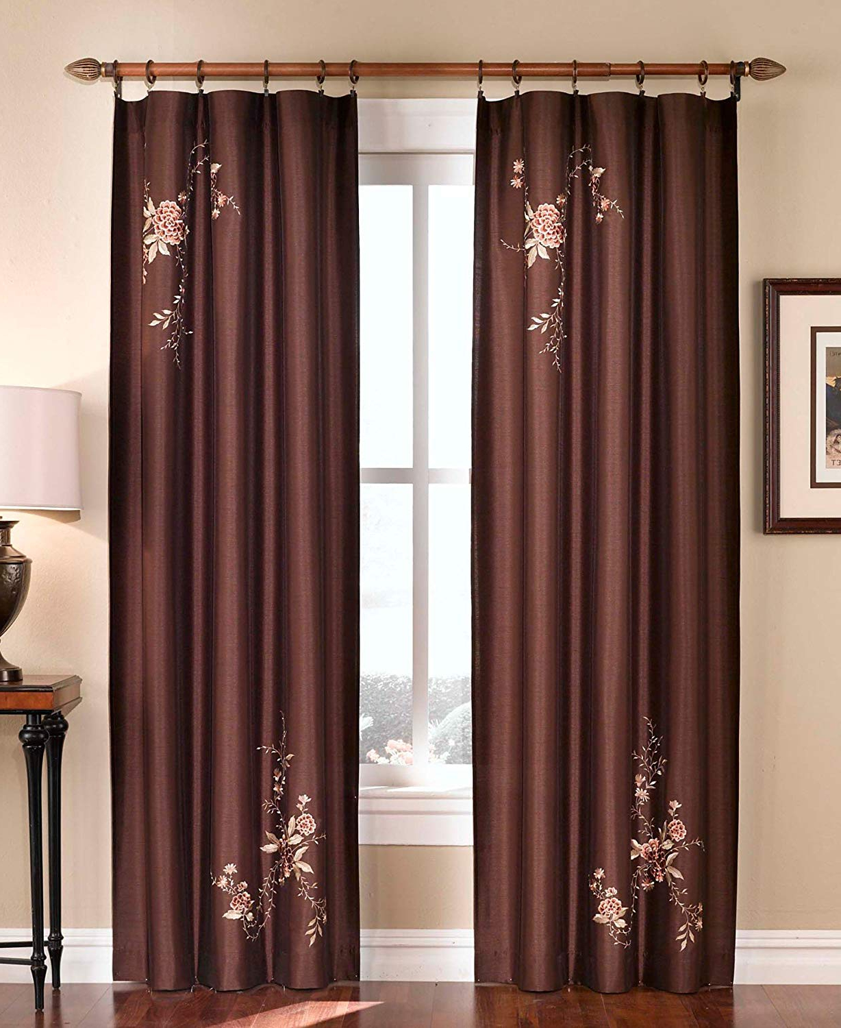 Ofloral Embroidered Faux Silk Window Curtain Panels With Regard To Favorite Chf Industries Floral Embroidered Faux Silk Window Curtain Drapery In Rich Colors – 95 In (View 2 of 20)
