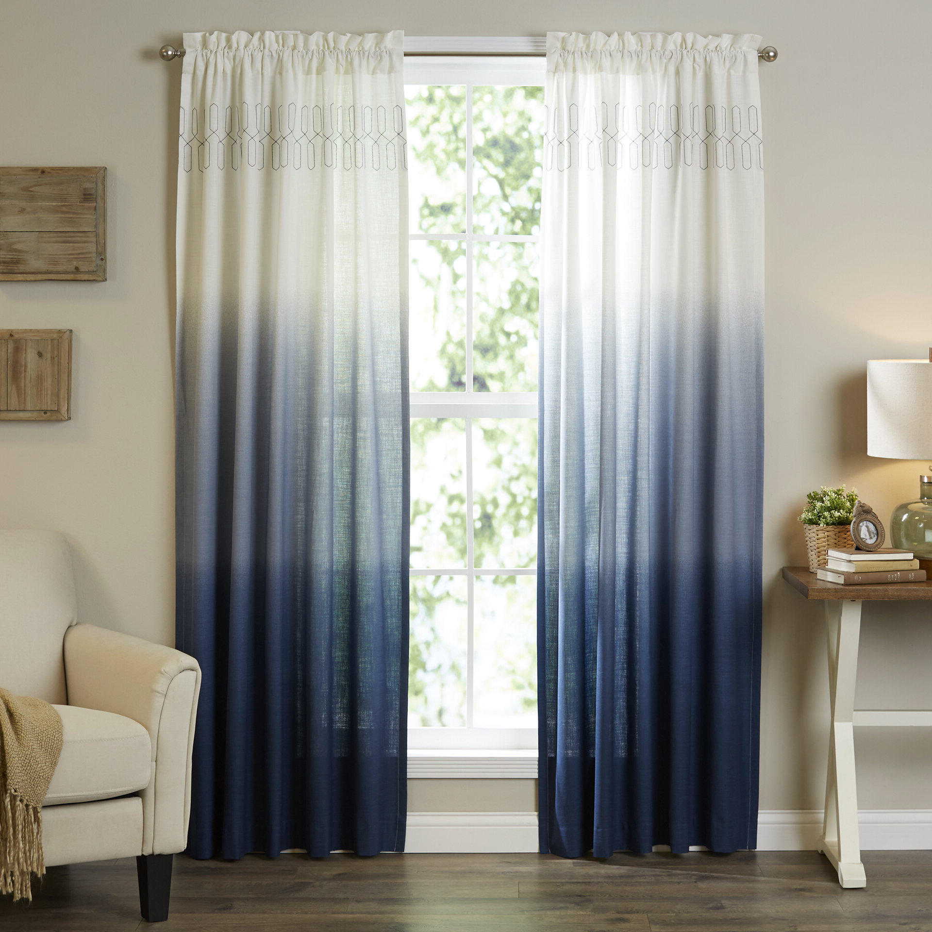 Ombre Embroidery Curtain Panels With Most Recently Released Mercury Row Higbee Solid Sheer Rod Pocket Single Curtain (View 12 of 20)