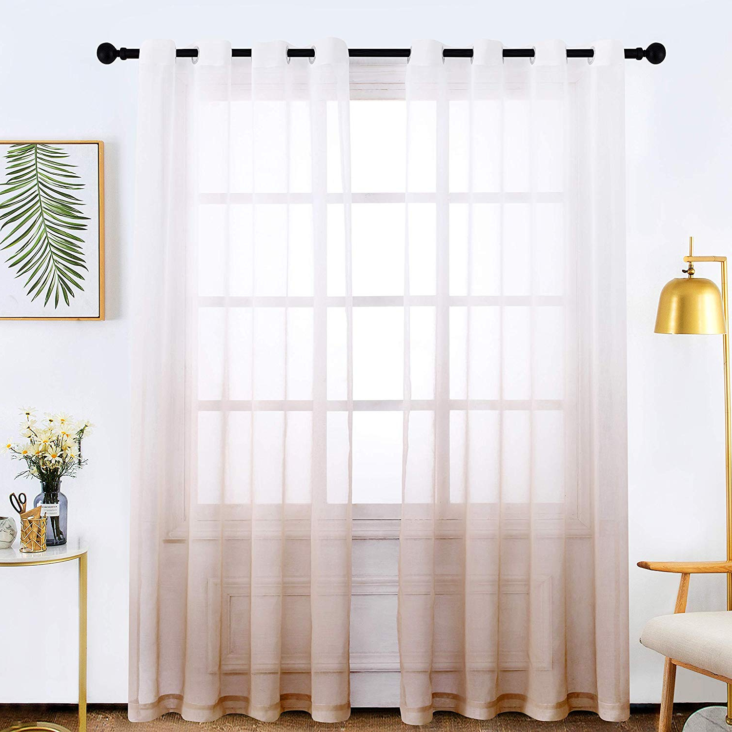 Ombre Faux Linen Semi Sheer Curtains Inside Most Popular Bermino Faux Linen Sheer Curtains Voile Grommet Ombre Semi Sheer Curtains  For Bedroom Living Room Set Of 2 Curtain Panels 54 X 84 Inch Light Brown (View 12 of 20)