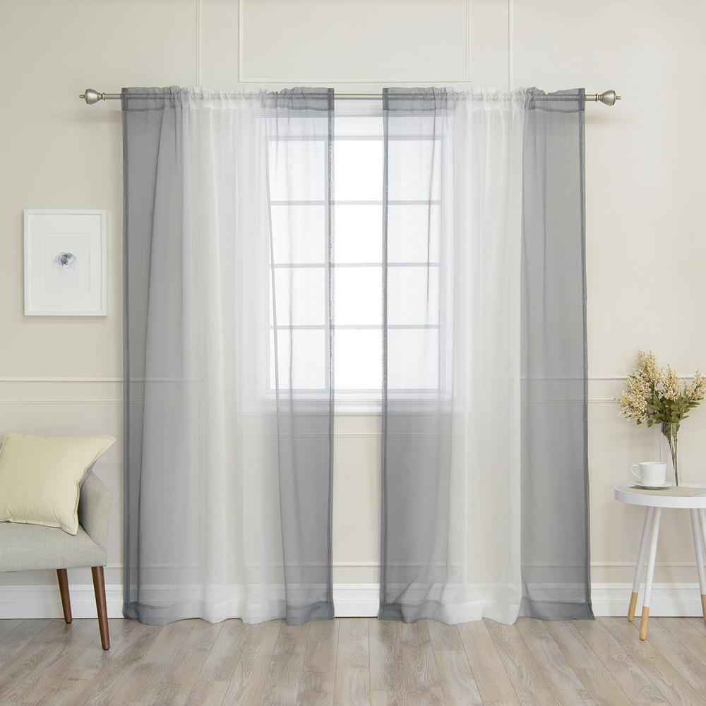 Ombre Faux Linen Semi Sheer Curtains Regarding Current Best Home Fashion 84 In (View 4 of 20)