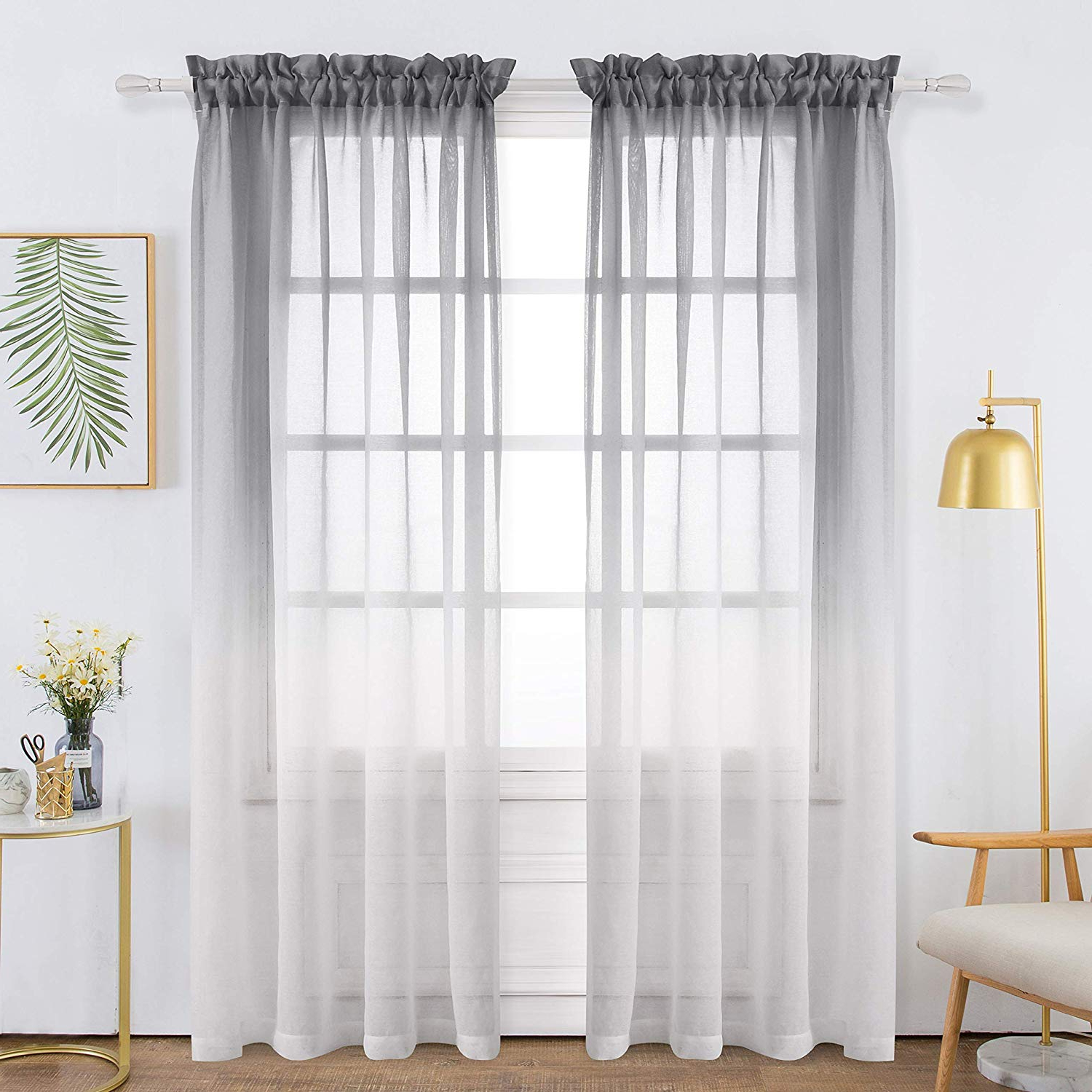 Ombre Faux Linen Semi Sheer Curtains Throughout 2020 Bermino Faux Linen Sheer Curtains Voile Rod Pocket Ombre Semi Sheer Curtains For Bedroom Living Room Set Of 2 Curtain Panels 54 X 84 Inch Grey (View 9 of 20)