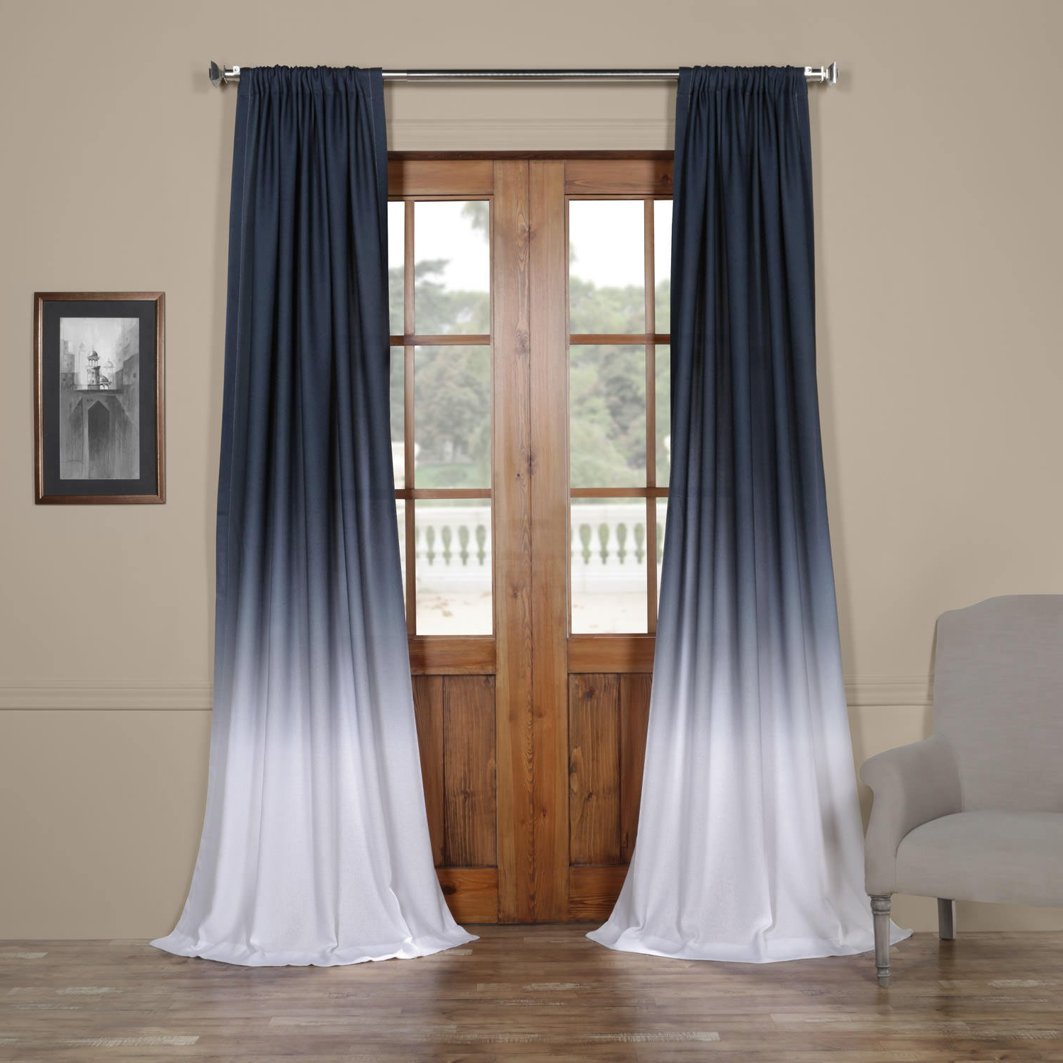 Ombre Faux Linen Semi Sheer Curtains Throughout Well Liked Felch Omb1707 84 Ombre Faux Linen Semi Sheer Curtain, Blue, 50 X  (View 15 of 20)