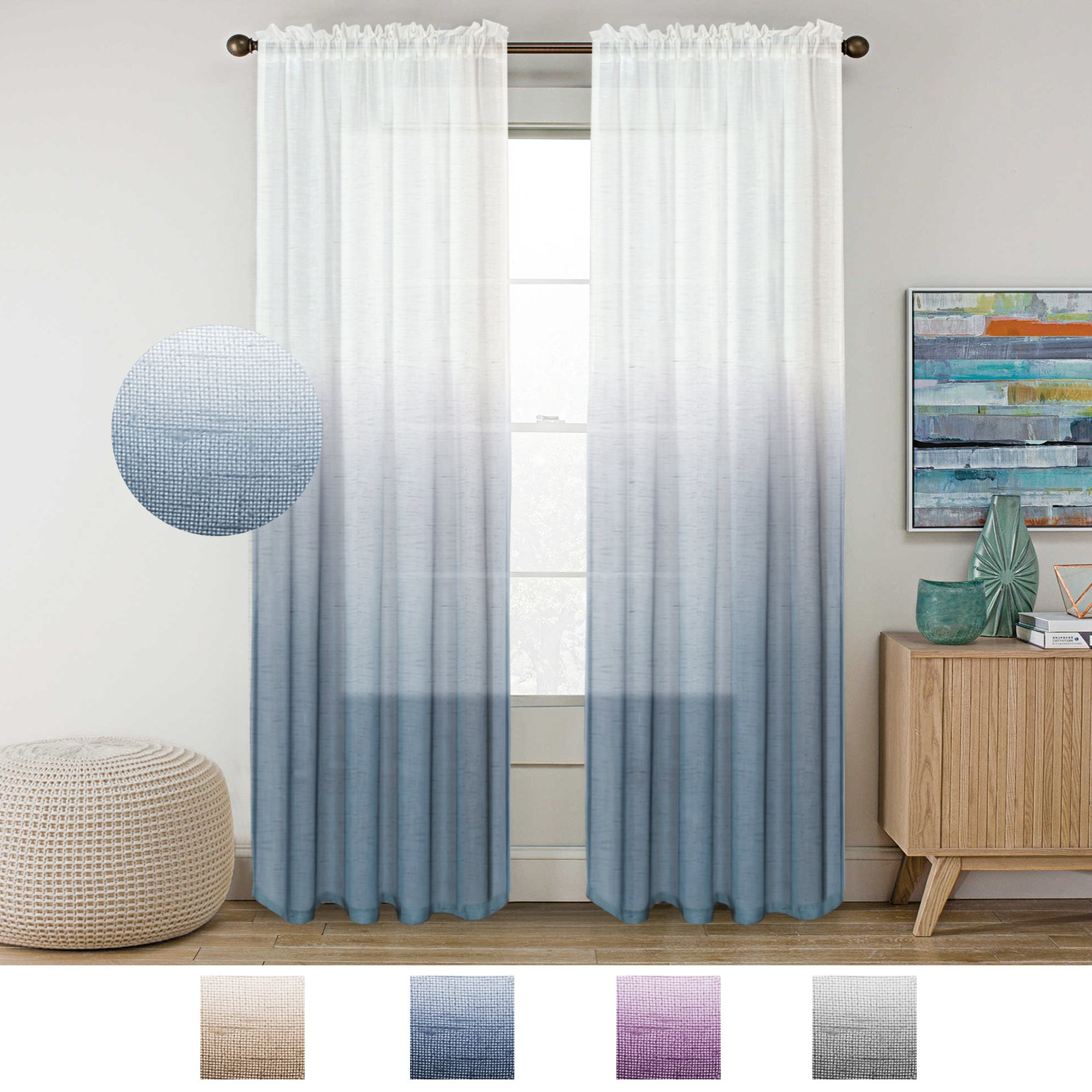 Ombre Faux Linen Semi Sheer Curtains With Well Known Cheap Natural Linen Sheer Curtains, Find Natural Linen Sheer (View 17 of 20)