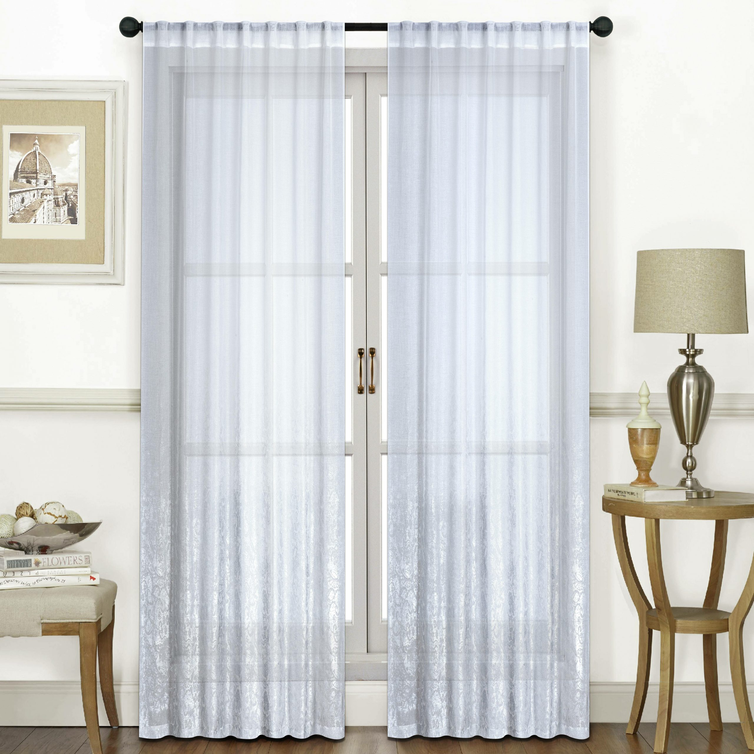 Ombre Solid Semi Sheer Rod Pocket Curtain Panels Inside Most Current Rod Pocket Curtain Panels (View 19 of 20)