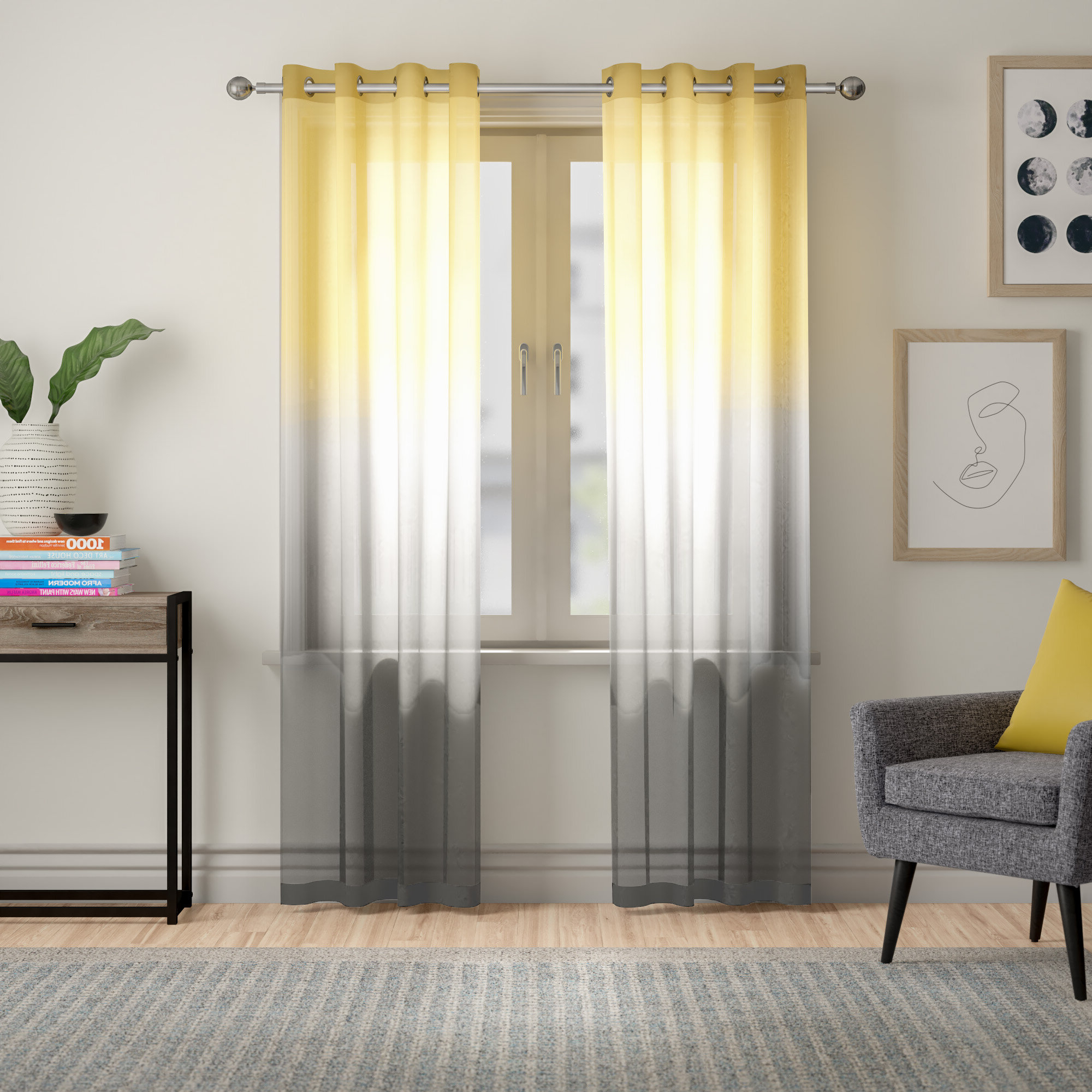 Ombre Stripe Yarn Dyed Cotton Window Curtain Panel Pairs For Widely Used Ombre Waterfall Curtains (View 14 of 20)