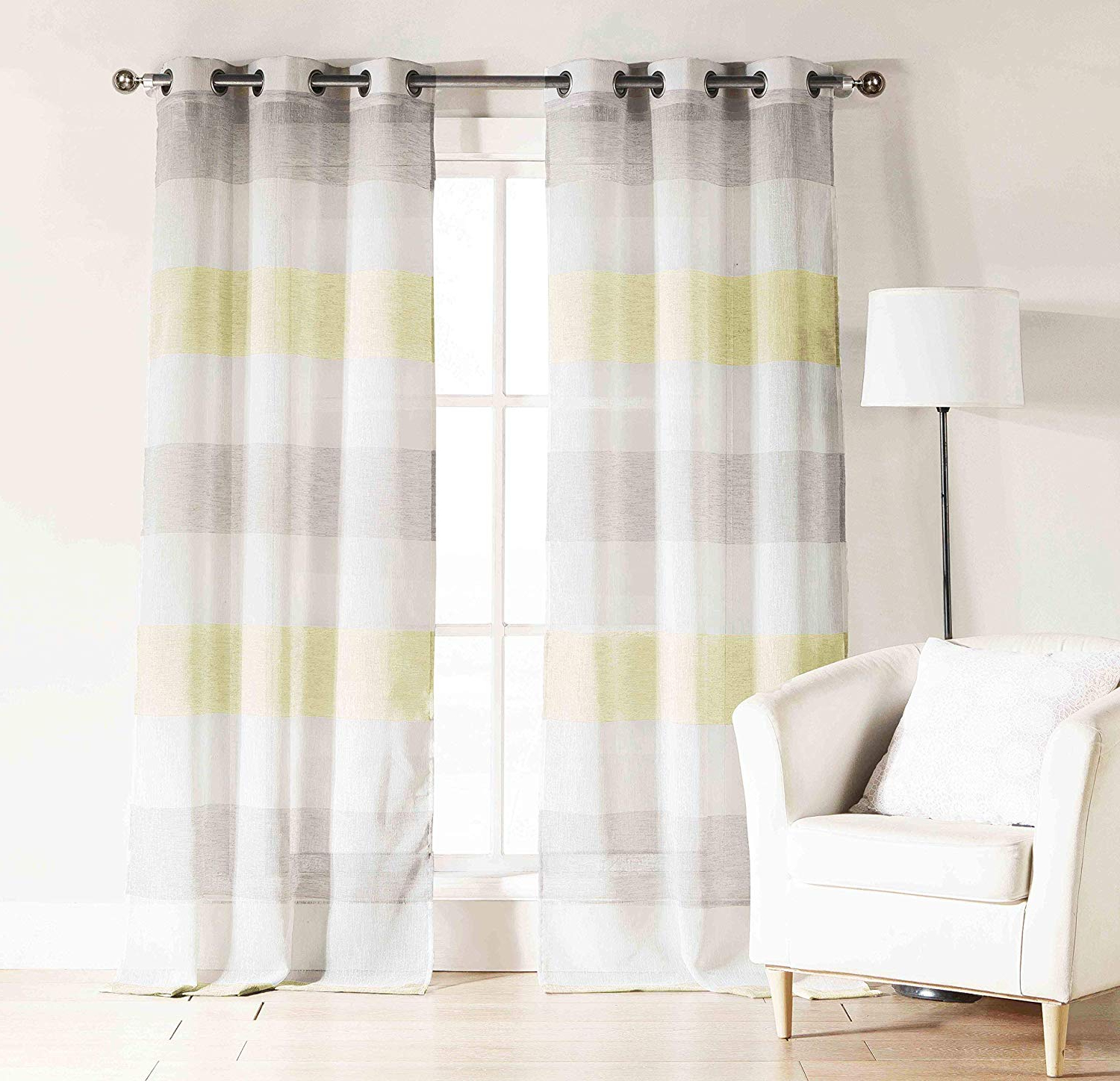 Ombre Stripe Yarn Dyed Cotton Window Curtain Panel Pairs Intended For Popular Bathroom And More Sheer Window Curtain Panel Pair: Rod Pocket, Cabana  Stripe, 76W X 84L (Yellow Gray) (View 15 of 20)