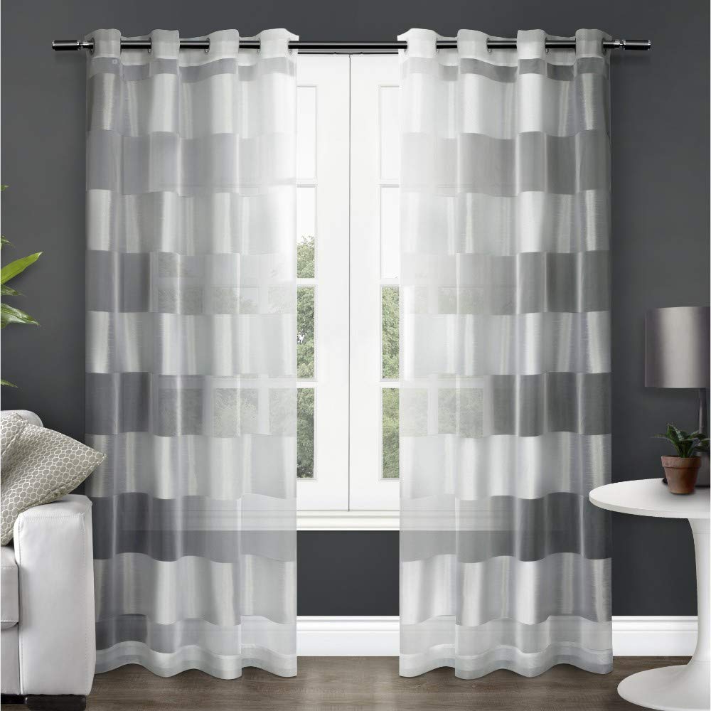 Ombre Stripe Yarn Dyed Cotton Window Curtain Panel Pairs Throughout Most Popular Exclusive Home Curtains Navaro Striped Sheer Window Curtain Panel Pair With  Grommet Top, 54X84, Winter White, 2 Piece (View 16 of 20)