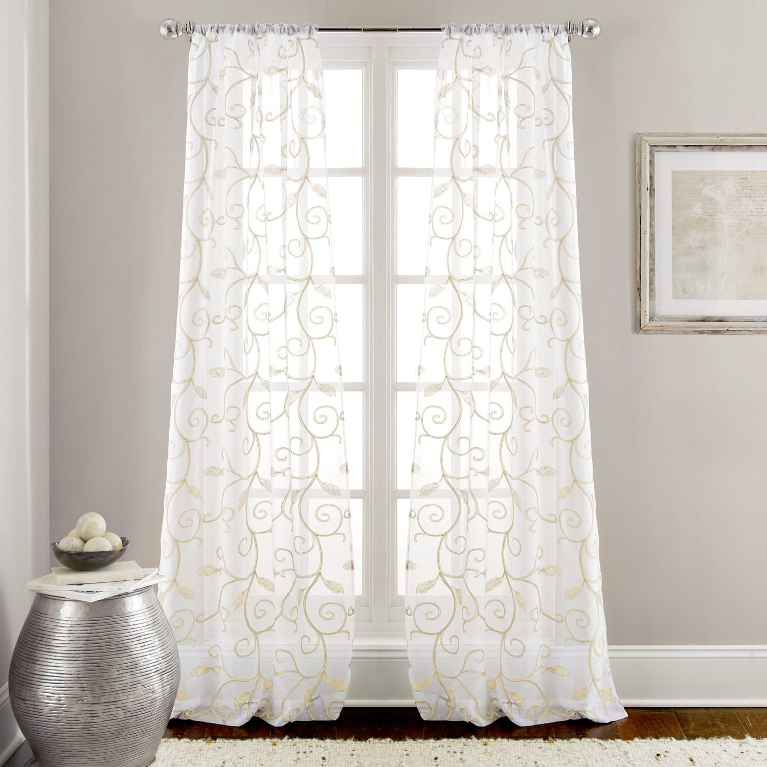 Overseas Faux Silk Blackout Curtain Panel Pairs In Most Current Amrapur Overseas Leaf Swirl Embroidered Curtain Panel Pair (View 13 of 20)