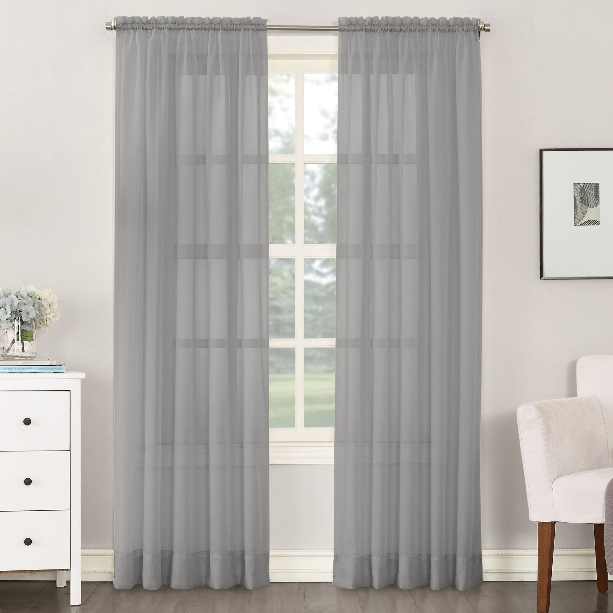Overseas Leaf Swirl Embroidered Curtain Panel Pairs Regarding 2021 Sheer Voile Solid Rod Pocket Single Curtain Panel (View 12 of 21)