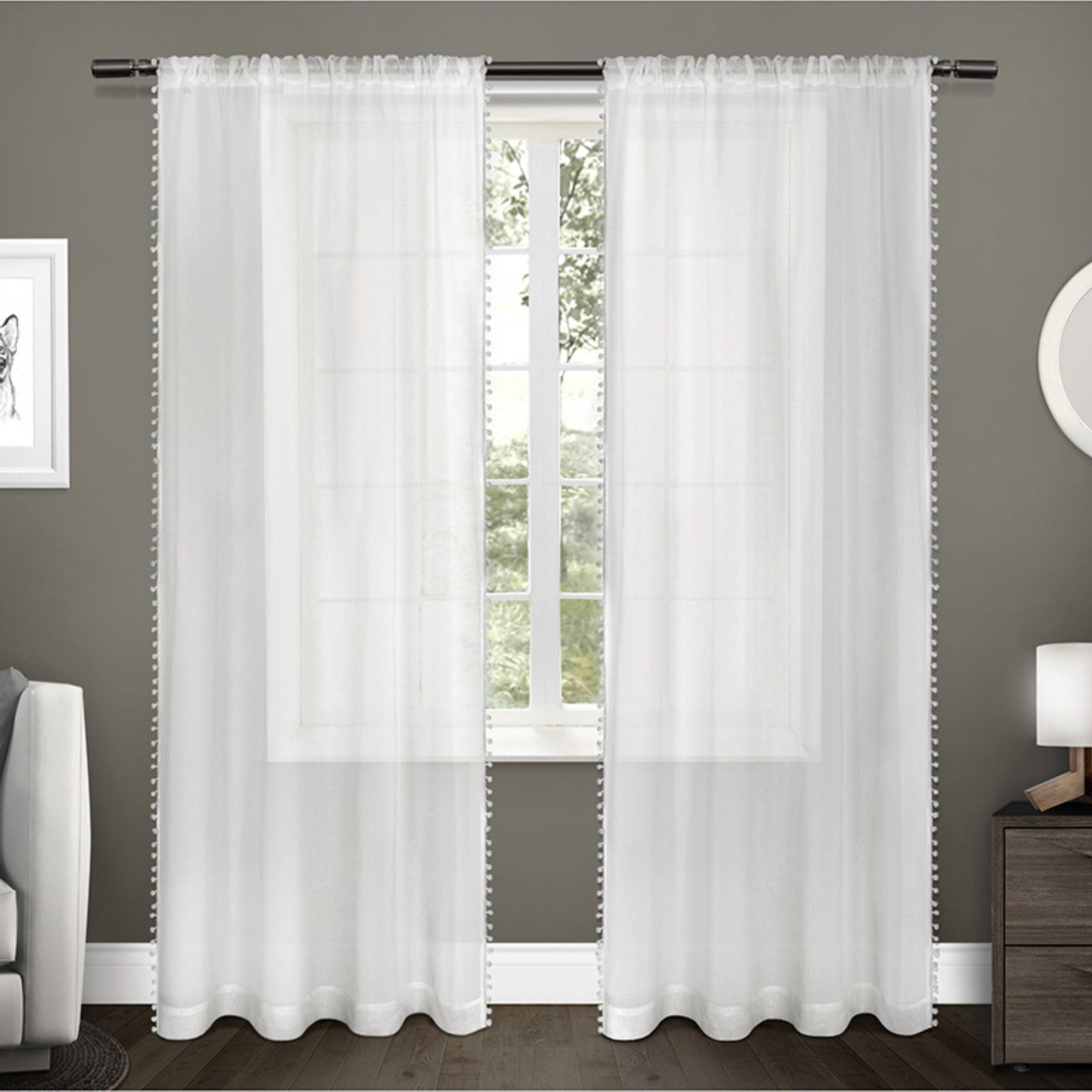 Overseas Leaf Swirl Embroidered Curtain Panel Pairs Throughout Most Recent Exclusive Home Pom Pom Sheer Applique Curtain Panel Pair (View 7 of 21)