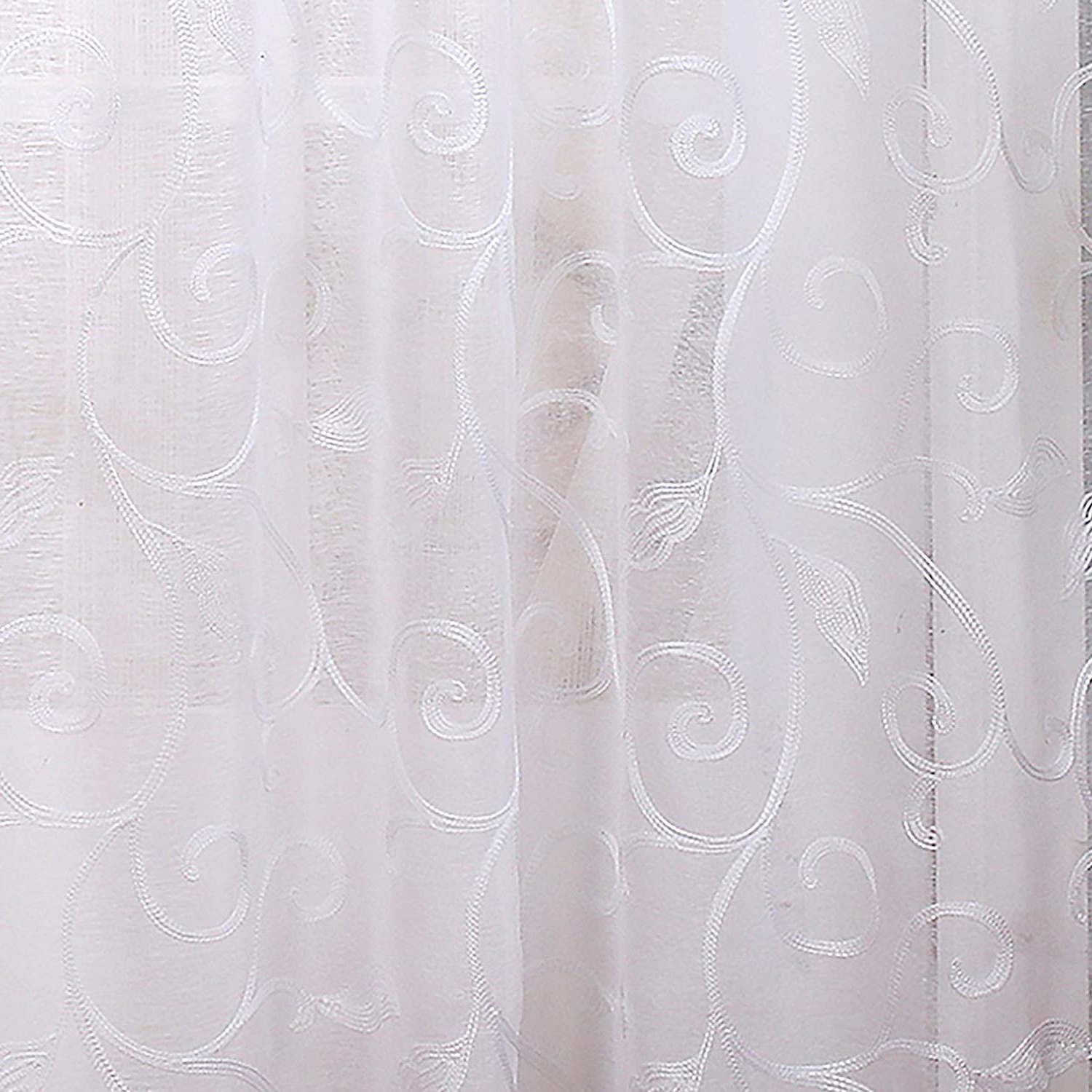 Overseas Leaf Swirl Embroidered Curtain Panel Pairs Throughout Widely Used Eluxurysupply 2 Pack 37 X 84 Inch Embroidered Sheet Panel Curtains Gray (View 14 of 21)