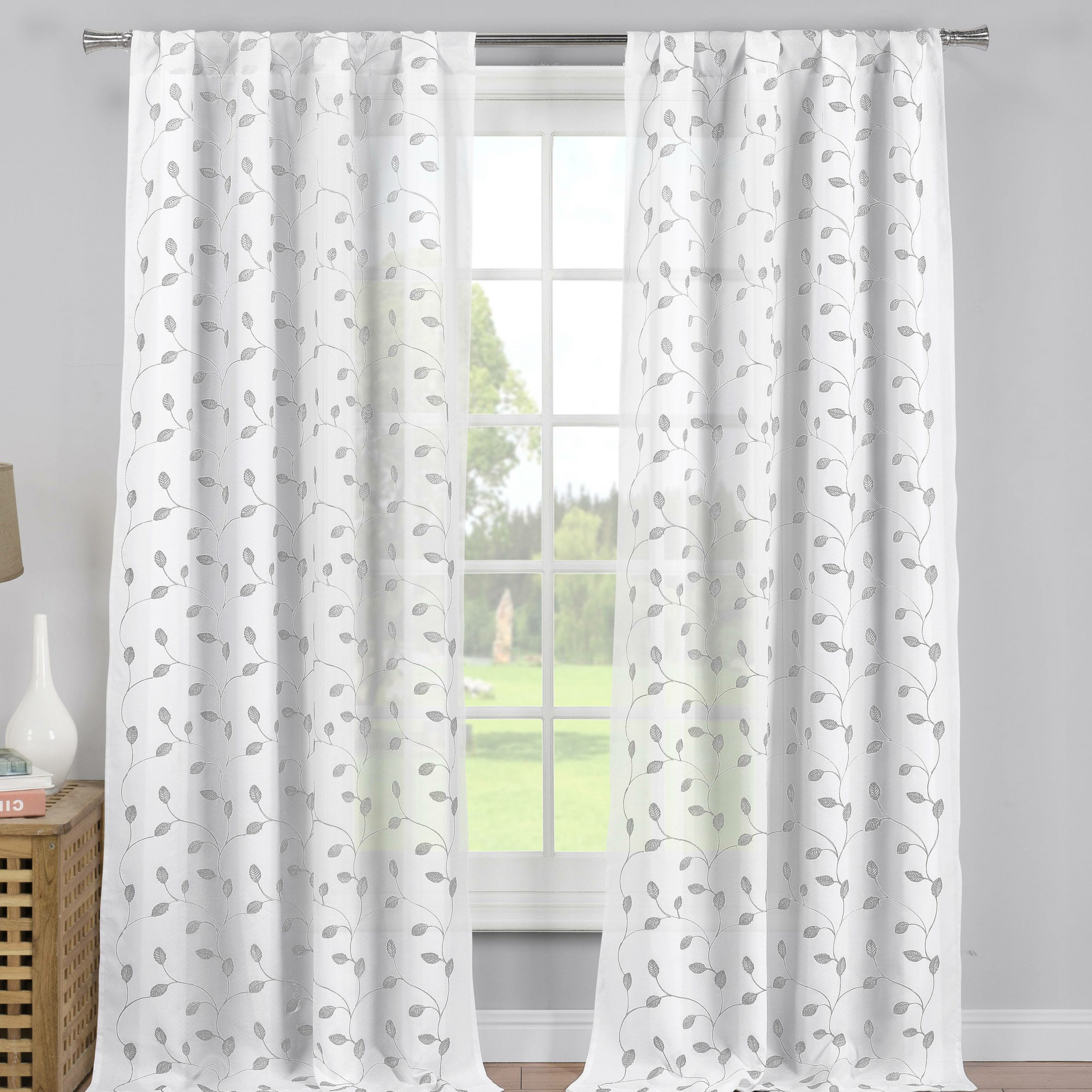 Overseas Leaf Swirl Embroidered Curtain Panel Pairs Within 2020 Whitehurst Embroidered Pole Top Floral / Flower Semi Sheer Rod Pocket  Curtain Panels (View 15 of 21)