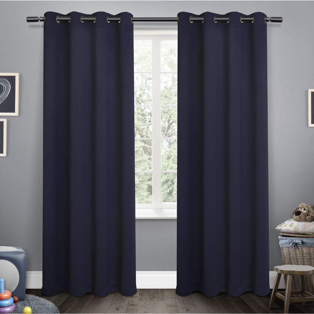 Oxford Sateen Woven Blackout Grommet Top Curtain Panel Pairs Pertaining To Most Current Exclusive Home Curtains Sateen Kids Twill Weave Blackout Window Curtain  Panel Pair With Grommet Top, 52X84, Navy, 2 Piece (View 13 of 20)
