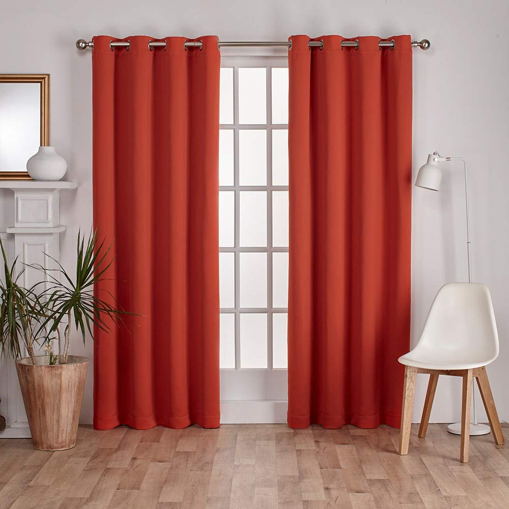 Oxford Sateen Woven Blackout Grommet Top Curtain Panel Pairs Regarding Preferred Exclusive Home Sateen Twill Woven Blackout Grommet Top Curtain Panel Pair,  Mecca Orange, 52X (View 15 of 20)