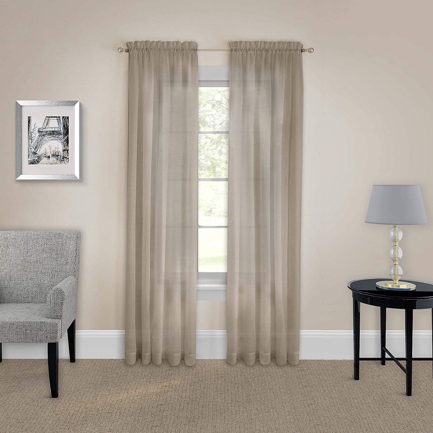 Pairs To Go Victoria Voile Curtain Panel Pairs Inside Well Known Pairs To Go 16005118X095Tau Victoria Voile 118 Inch95 Inch Window Panel  Pair, Taupe (Gallery 4 of 20)